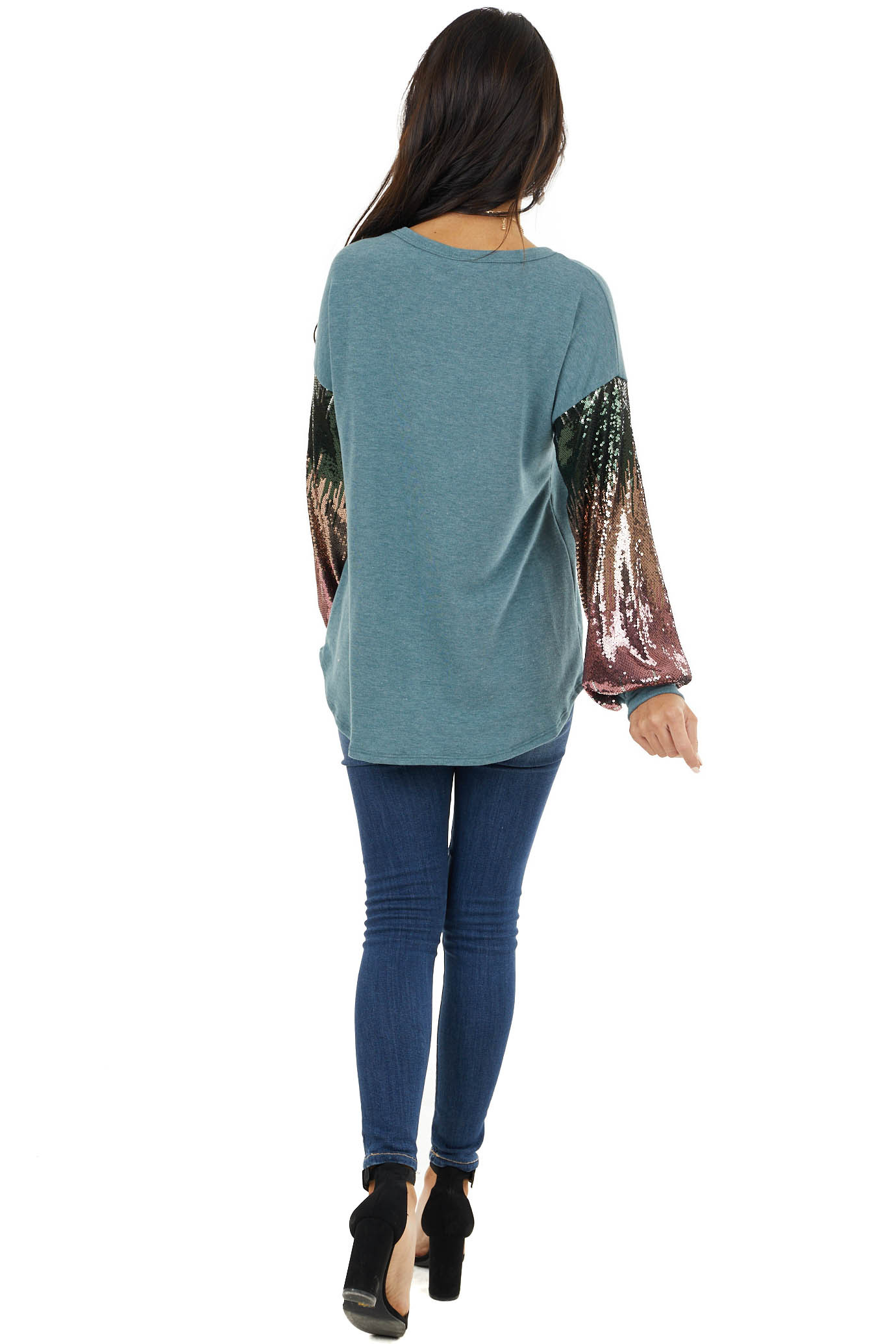 Light Pine Green Knit Top with Long Sequin Sleeves