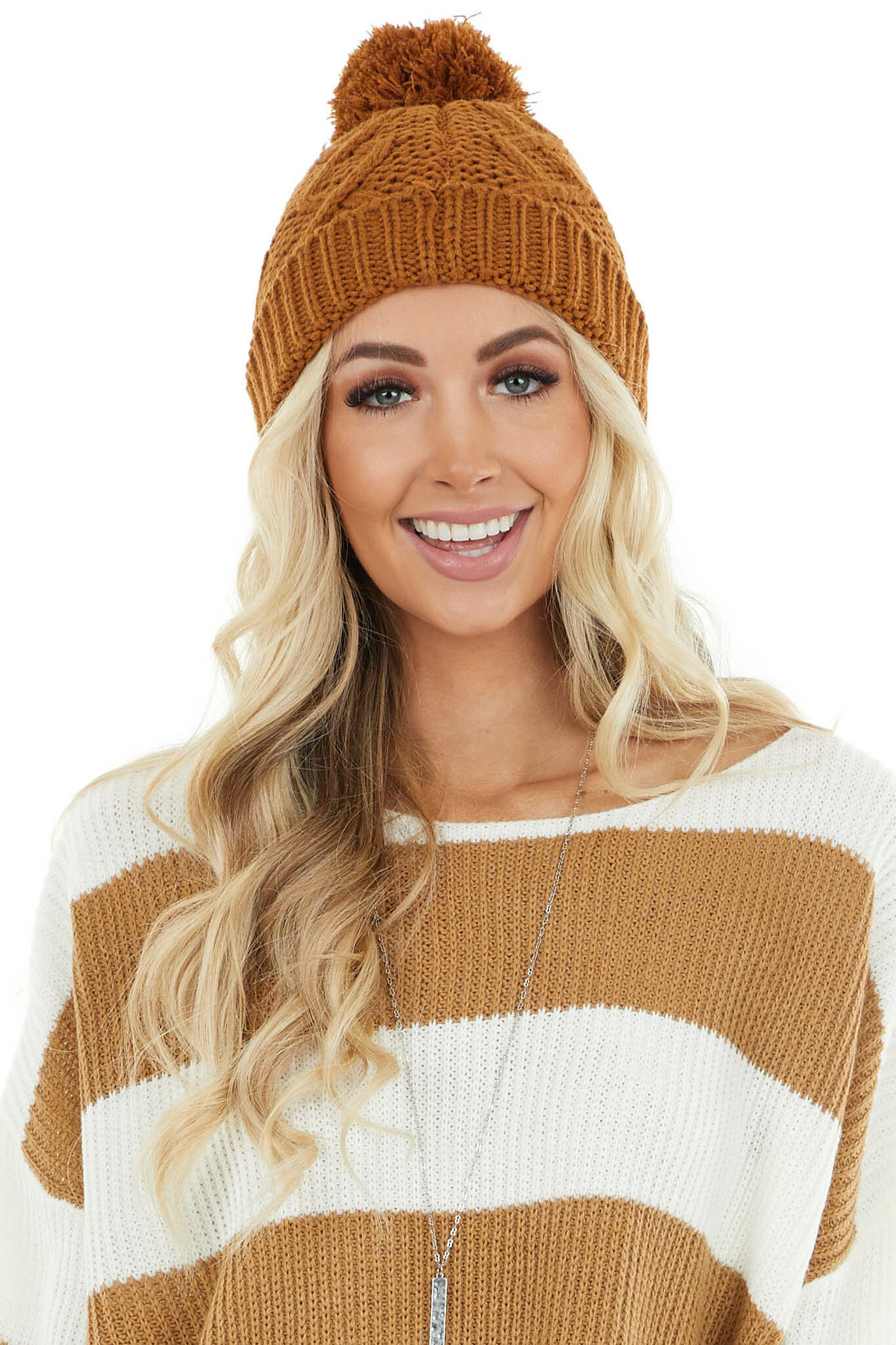 Camel Cable Knit Beanie with Pom Pom Detail
