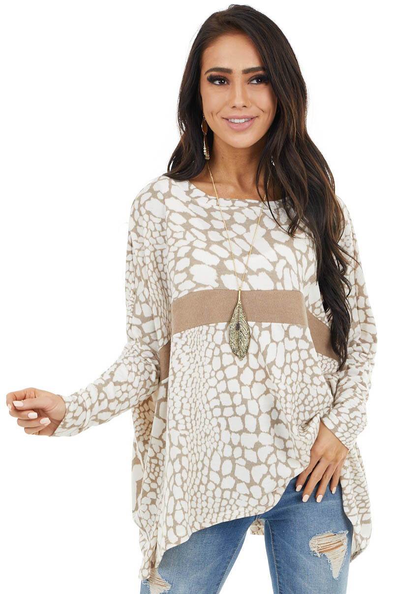Dark Latte and Cream Giraffe Print Long Sleeve Oversized Top
