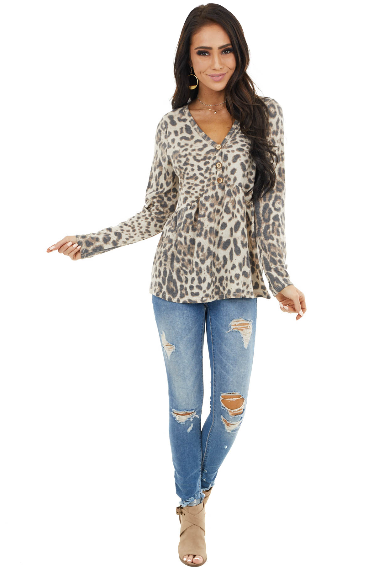 Cream and Charcoal Leopard Print Long Sleeve Babydoll Top