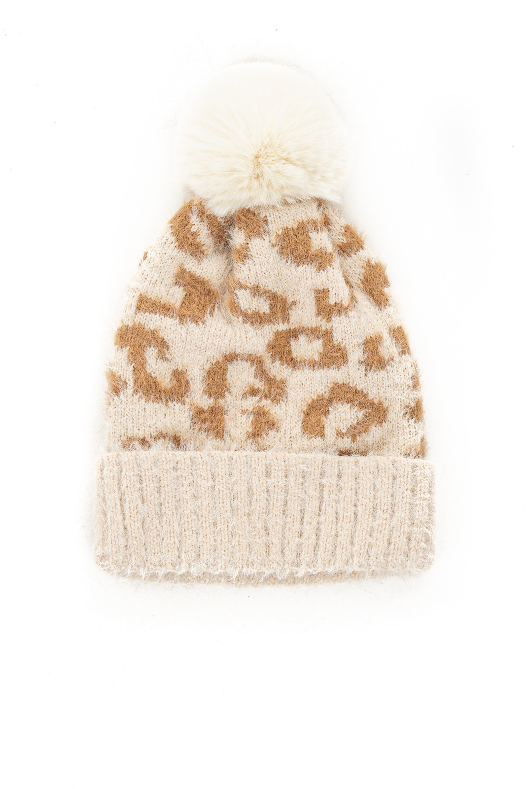 Cream and Taupe Leopard Print Beanie with Pom Pom Detail