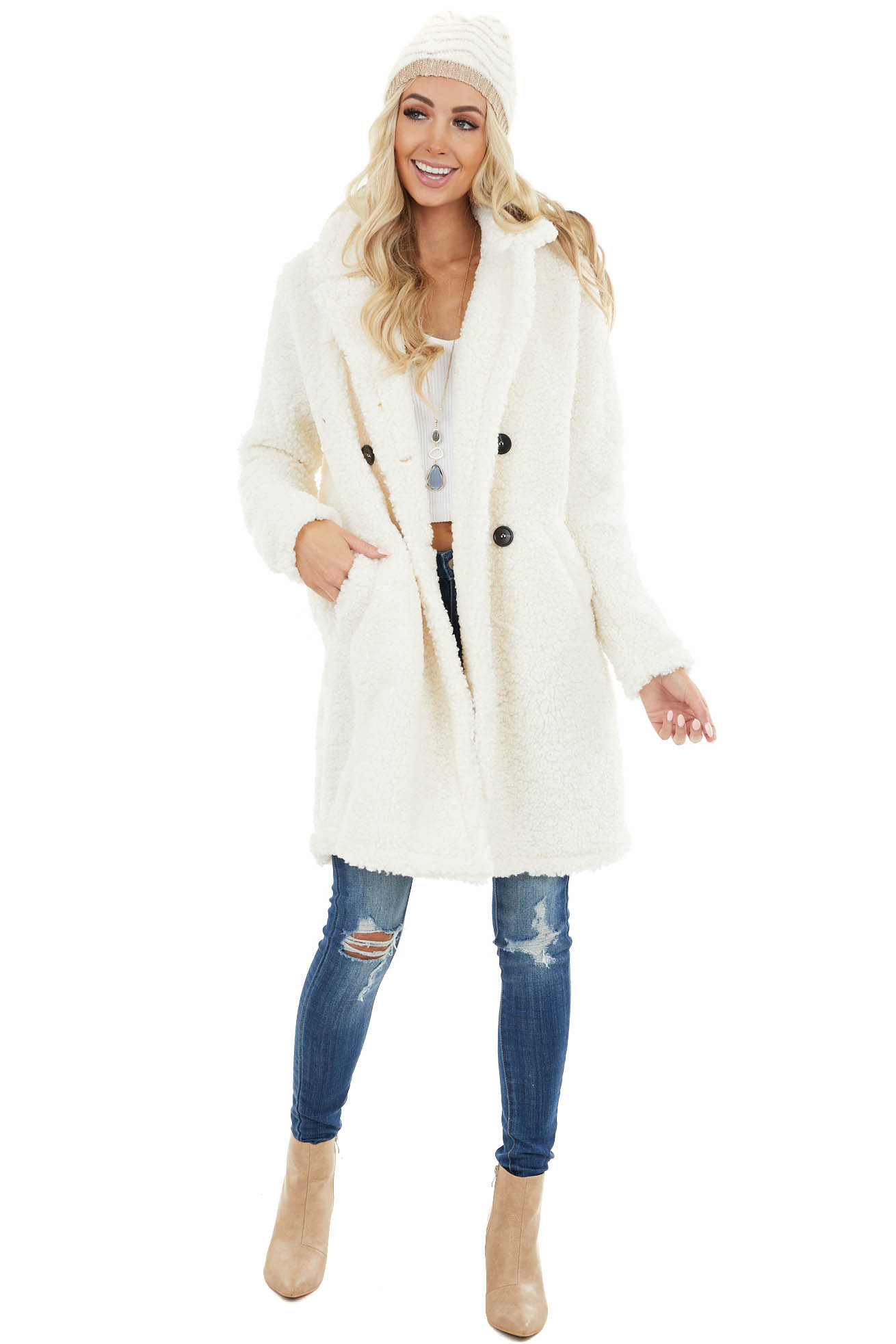 Ivory Faux Fur Teddy Coat with Double Button Closure