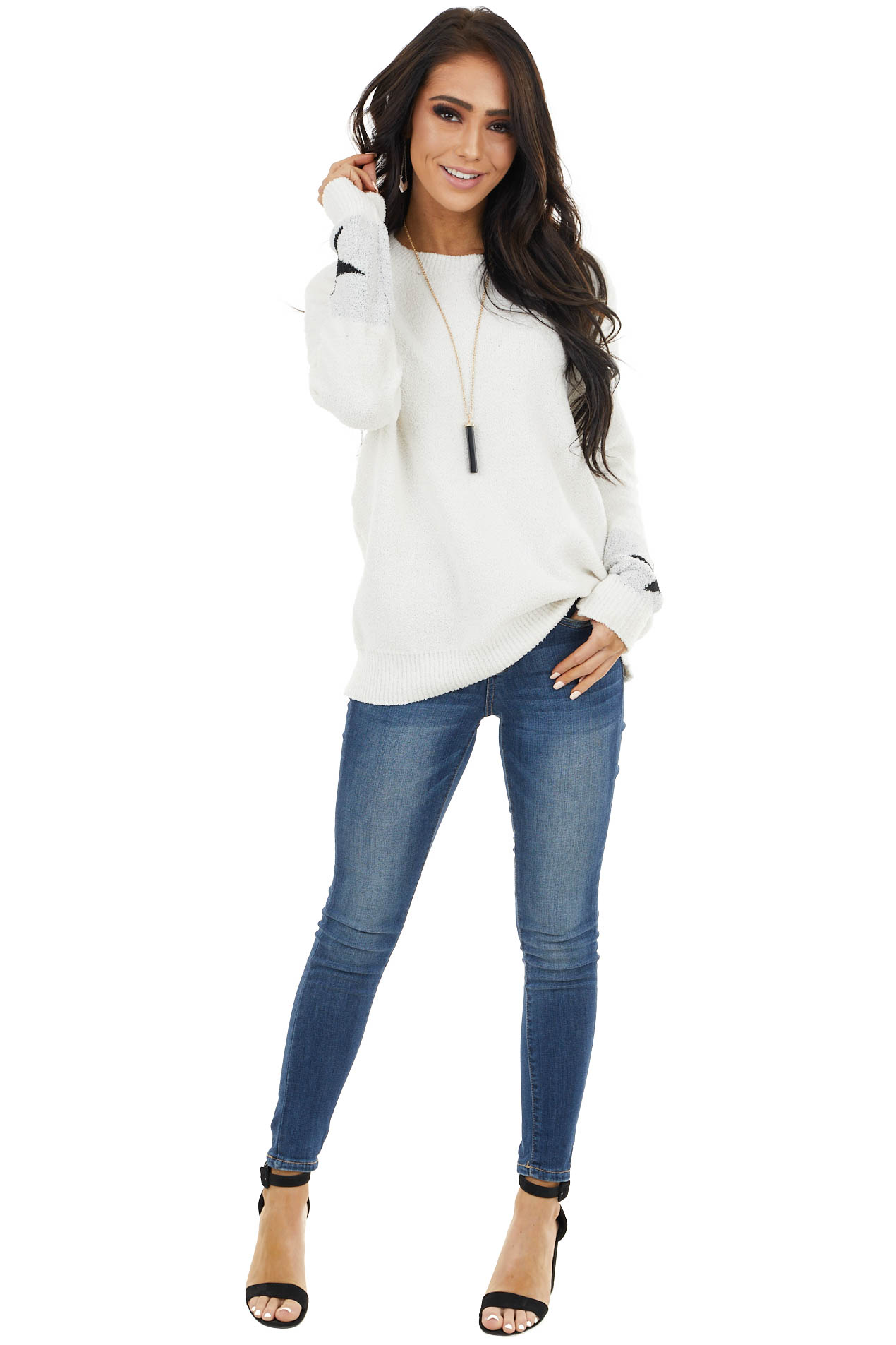 Ivory Long Sleeve Knit Top with Star Detail on Sleeves