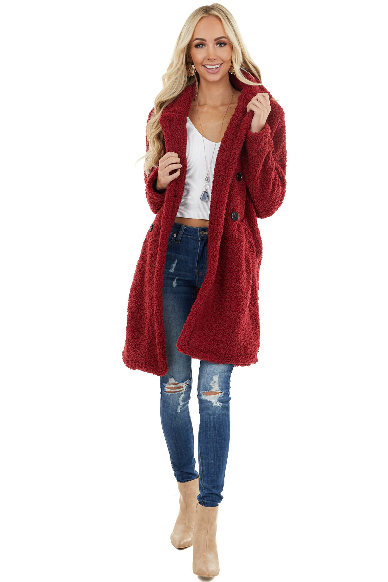 Burgundy Faux Fur Teddy Coat with Double Button Closure