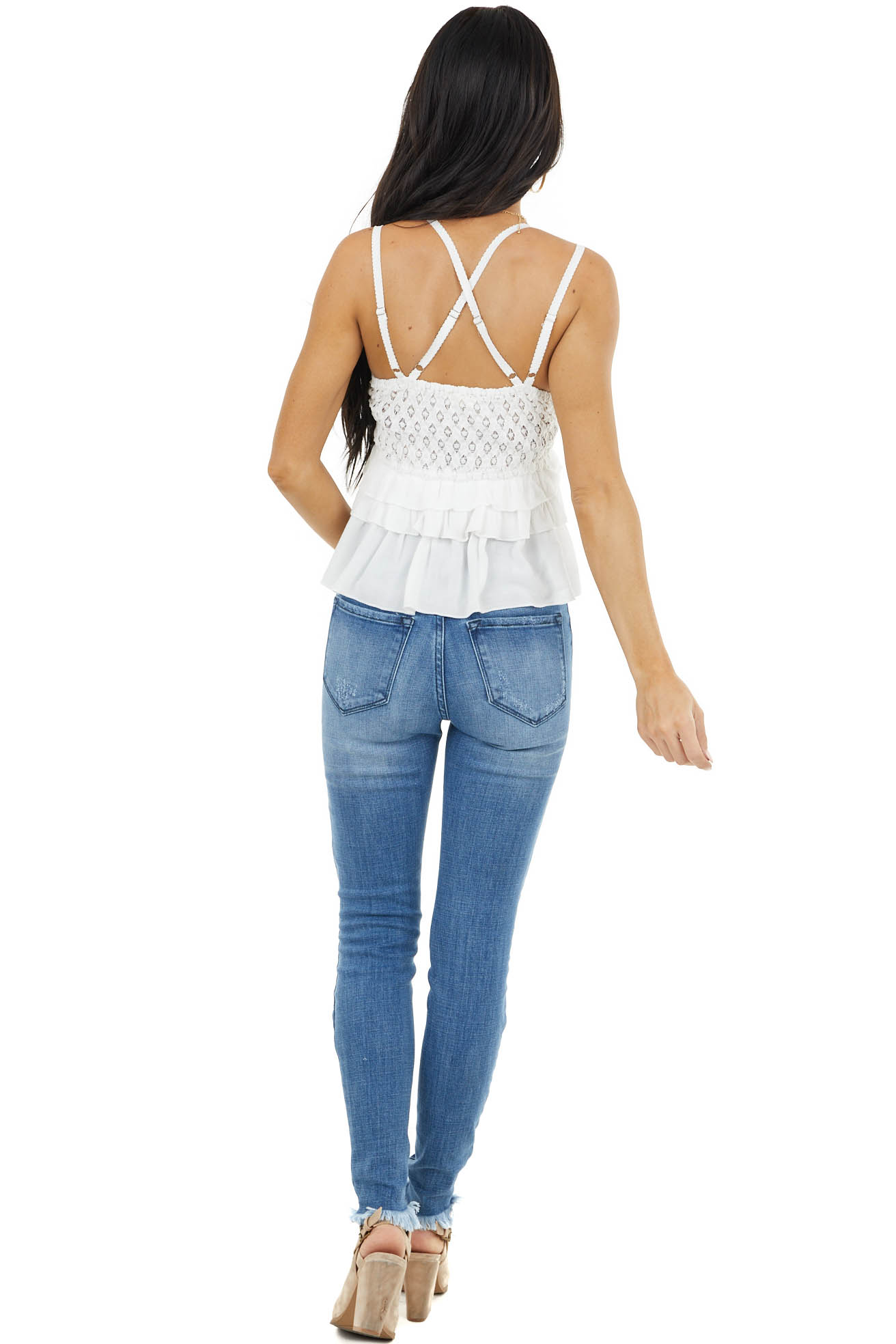 Ivory Crochet Lace Sleeveless Top with Ruffled Bottom