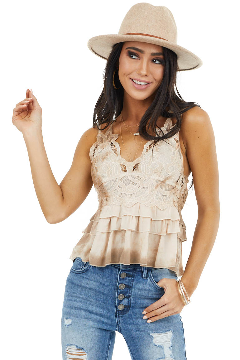 Latte Crochet Lace Sleeveless Top with Ruffled Bottom
