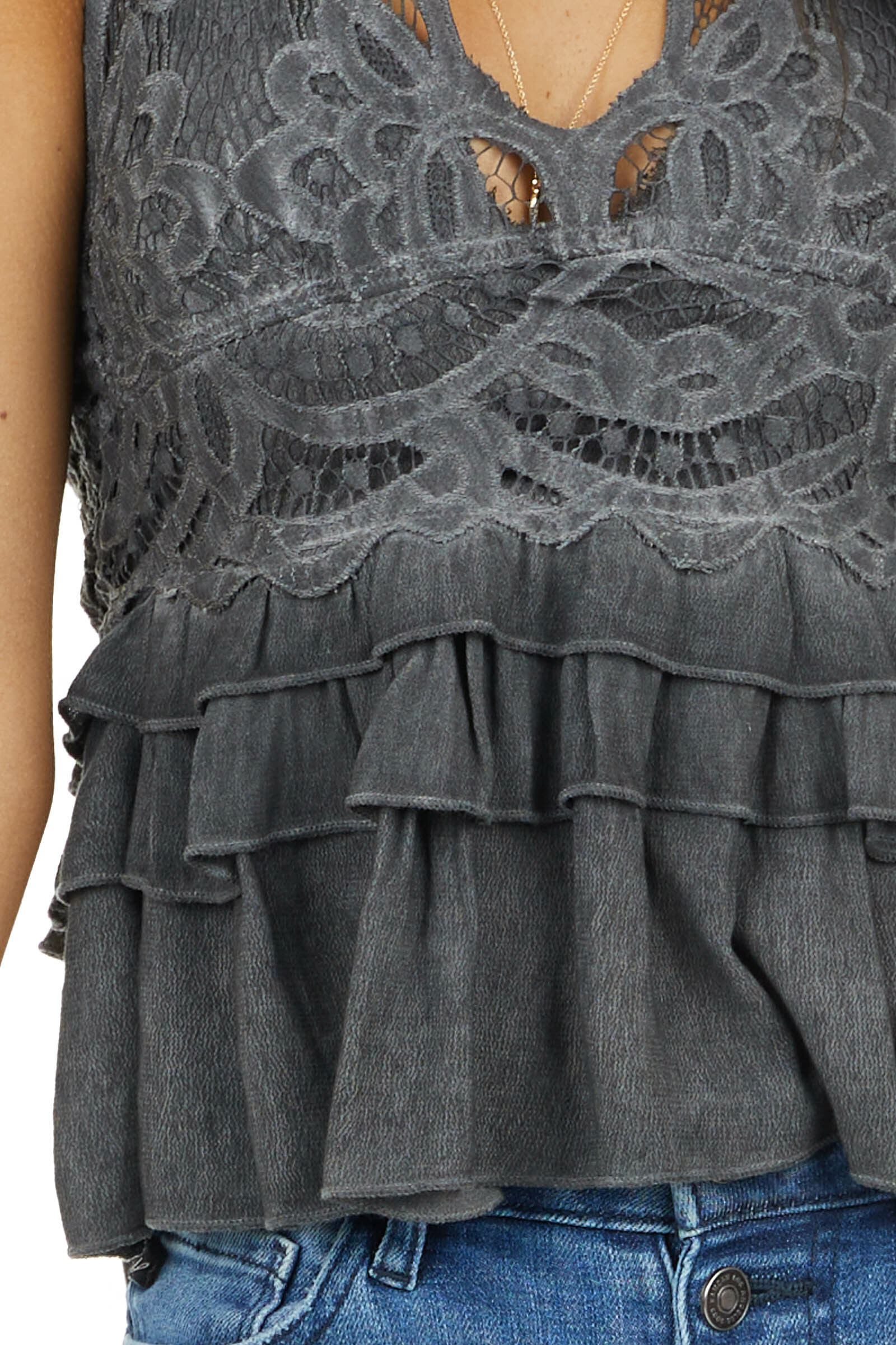 Charcoal Crochet Lace Sleeveless Top with Ruffled Bottom