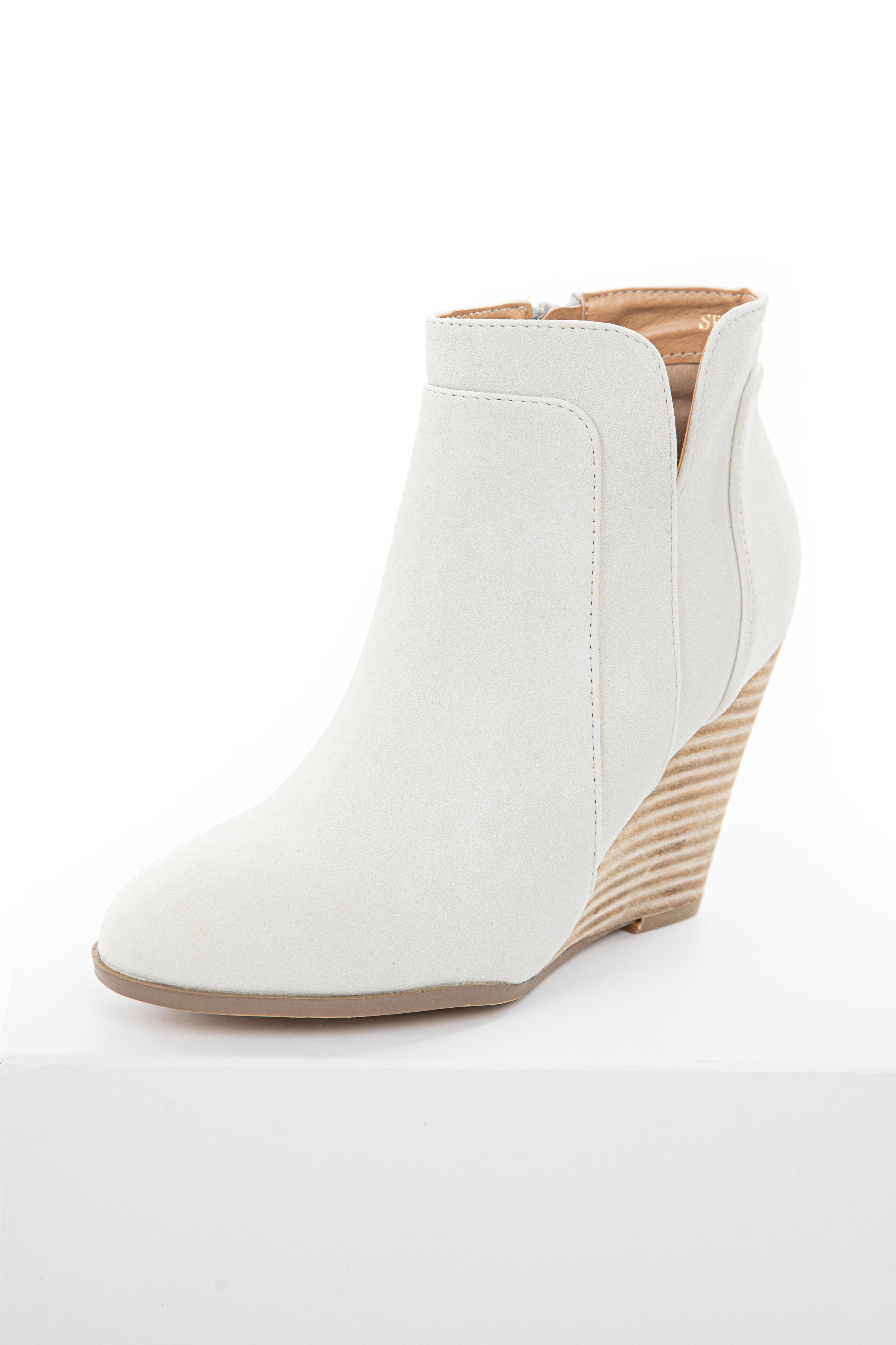 Cream Faux Suede Stacked Wedge Bootie