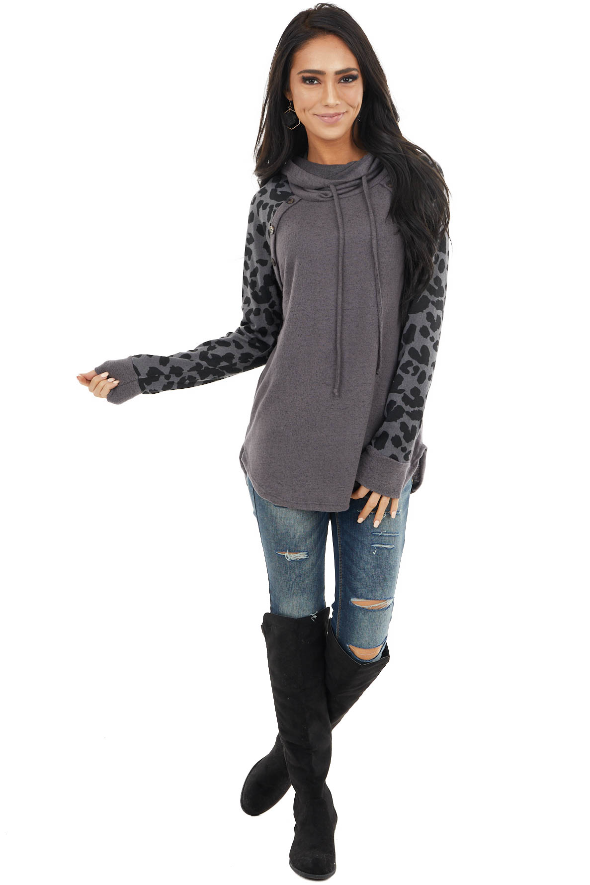 Charcoal Cowl Neck Top with Leopard Sleeves and Buttons