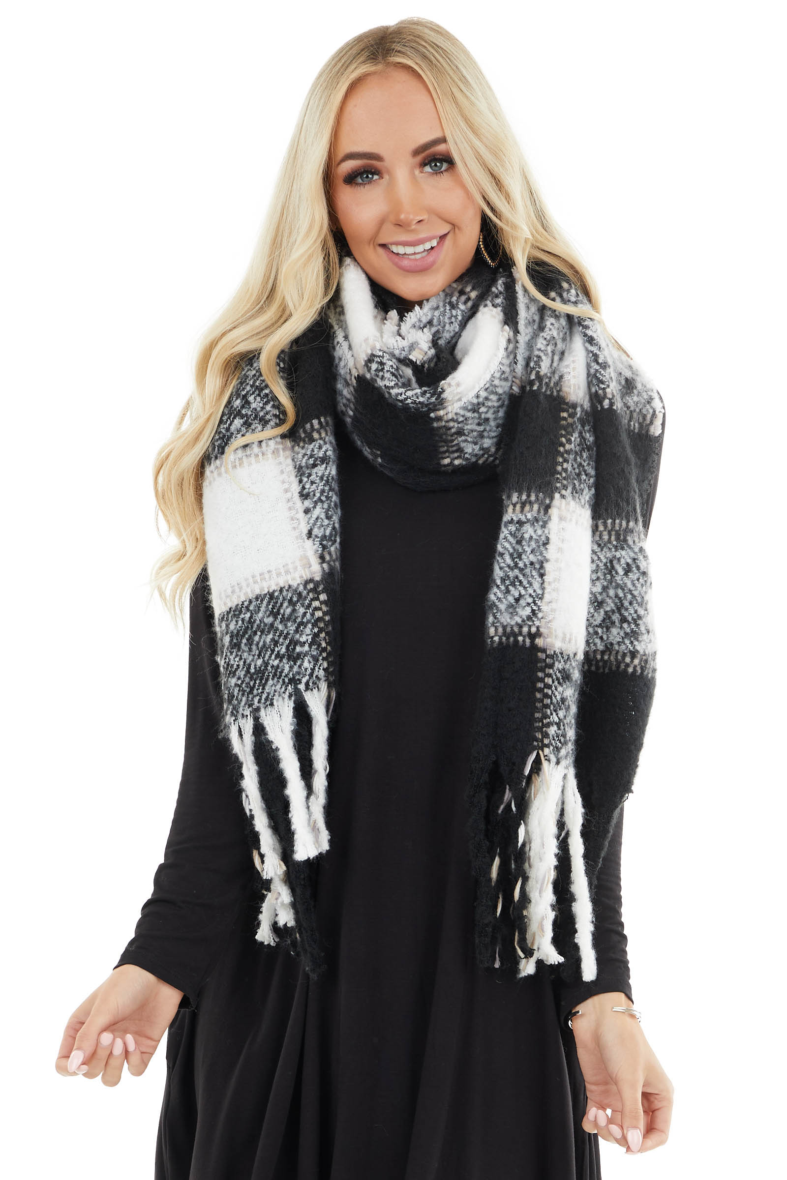Black and Ivory Plaid Long Scarf with Tassel Edges