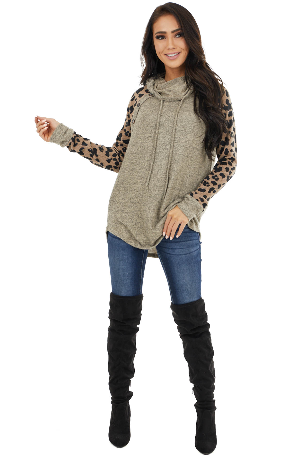 Beige Cowl Neck Top with Leopard Sleeves and Buttons