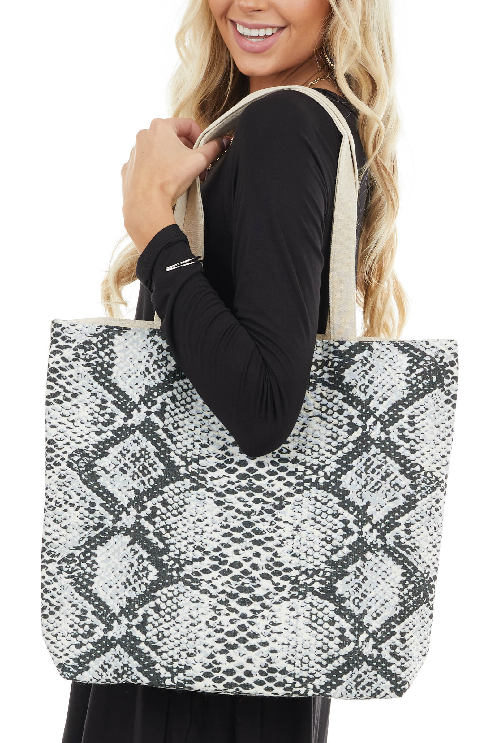 Ivory Snakeskin Print Canvas Tote Bag with Zip Up Closure