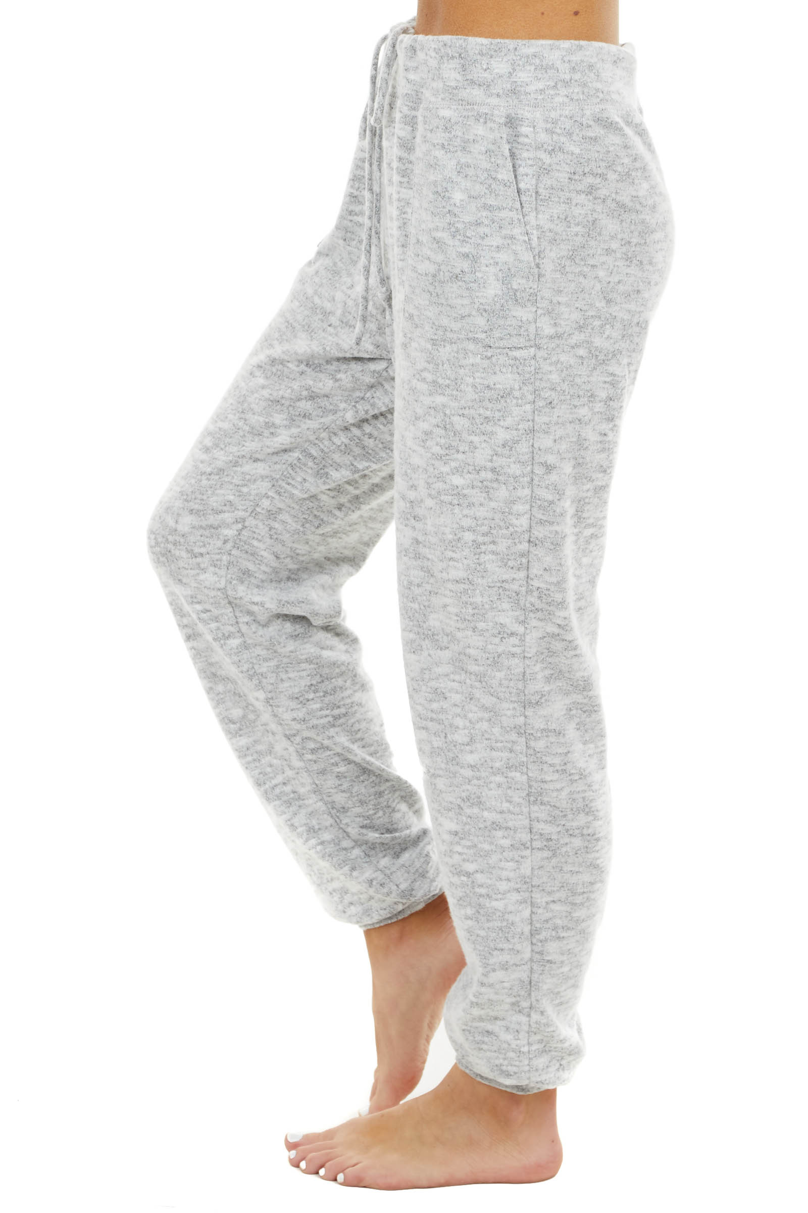 Heathered Dove Grey Stretchy Knit Joggers with Pockets