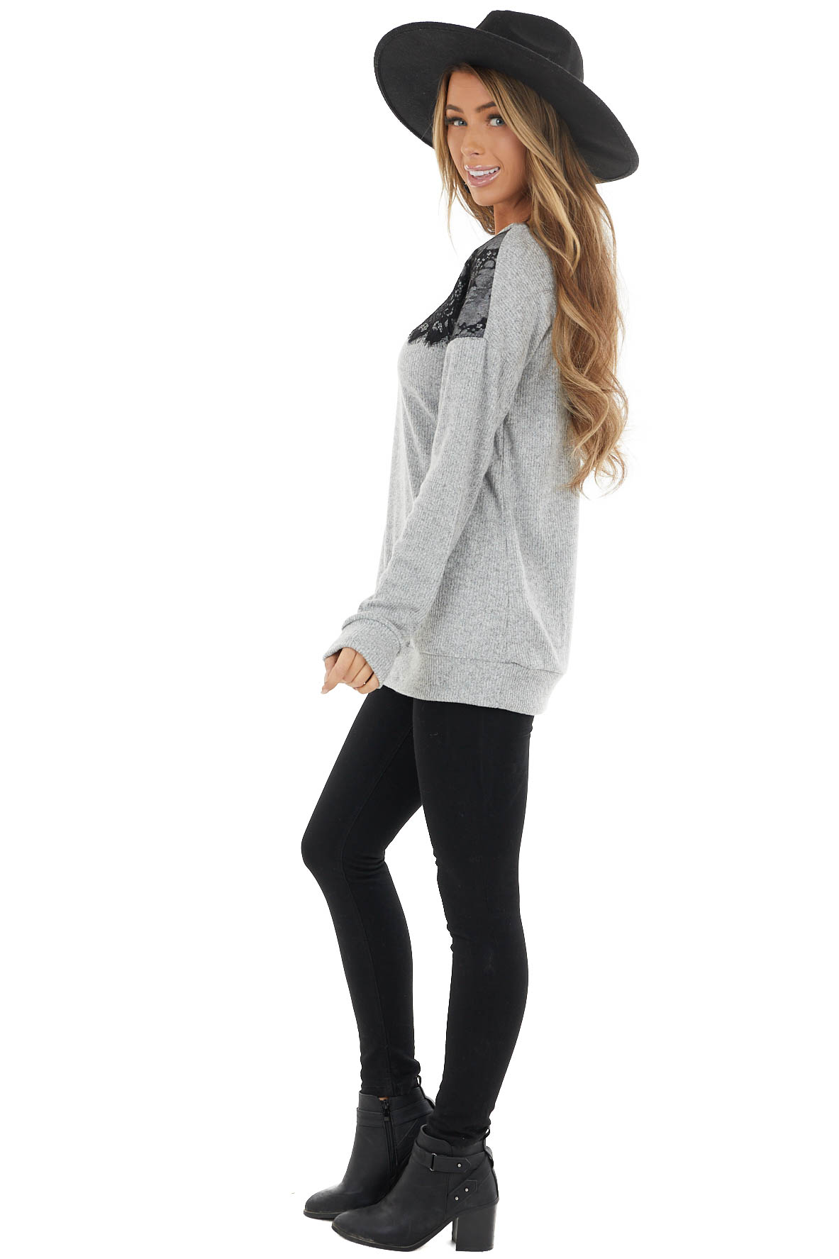 Heathered Grey Long Sleeve Knit Top with Black Lace Details
