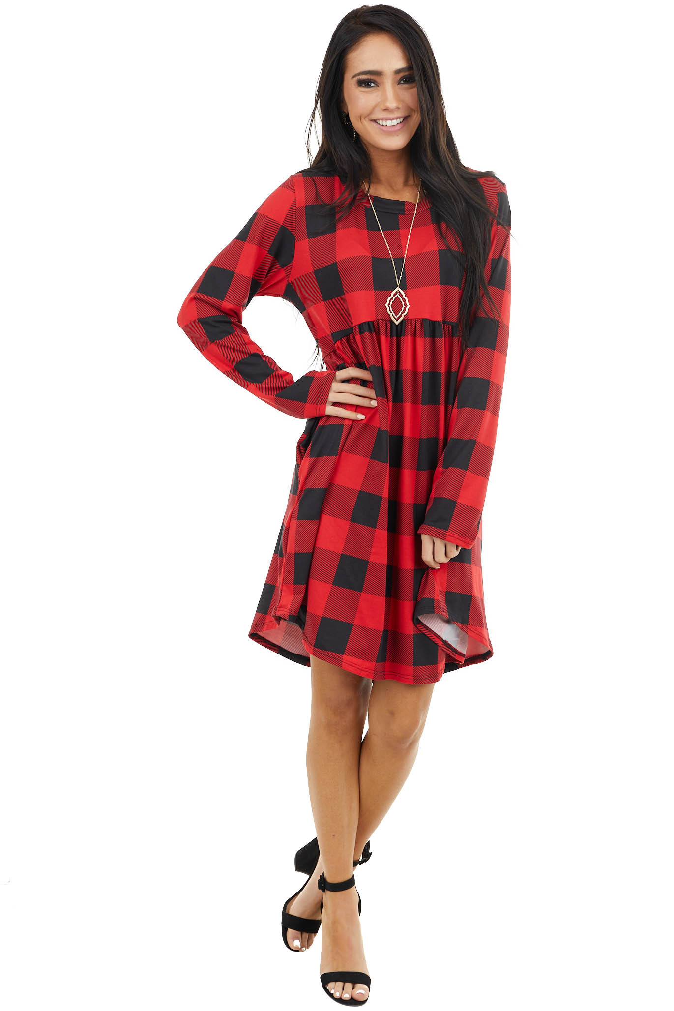 Ruby Red Buffalo Plaid Print Knit Long Sleeve Babydoll Dress