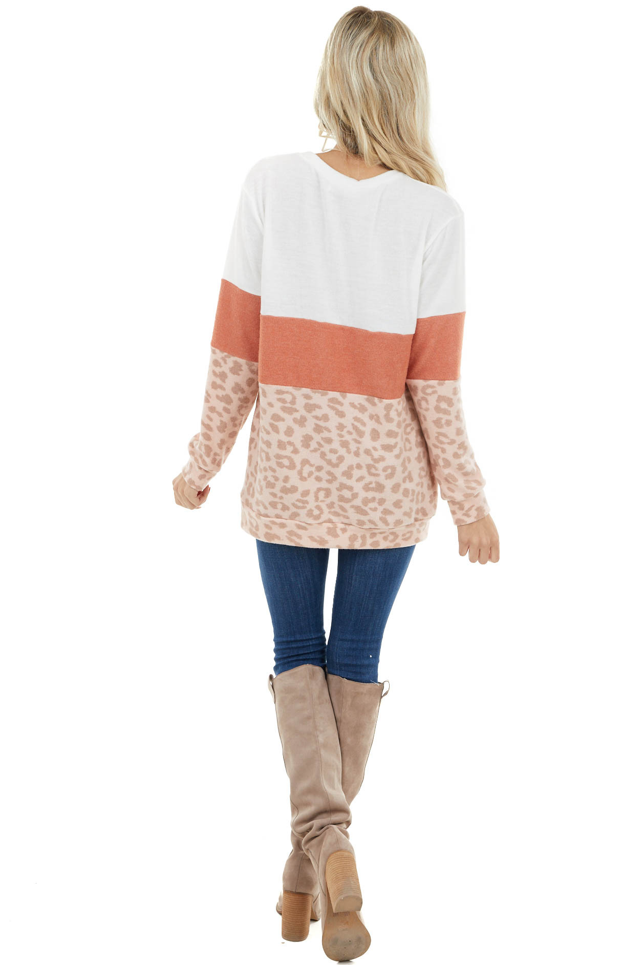 Ivory Colorblock and Leopard Print Knit Long Sleeve Top