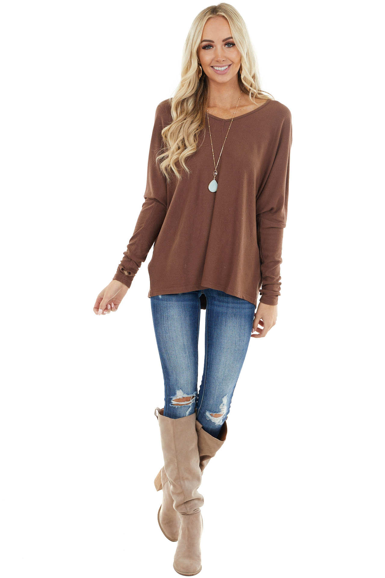 Chocolate Soft Ribbed Knit Top with Long Dolman Sleeves