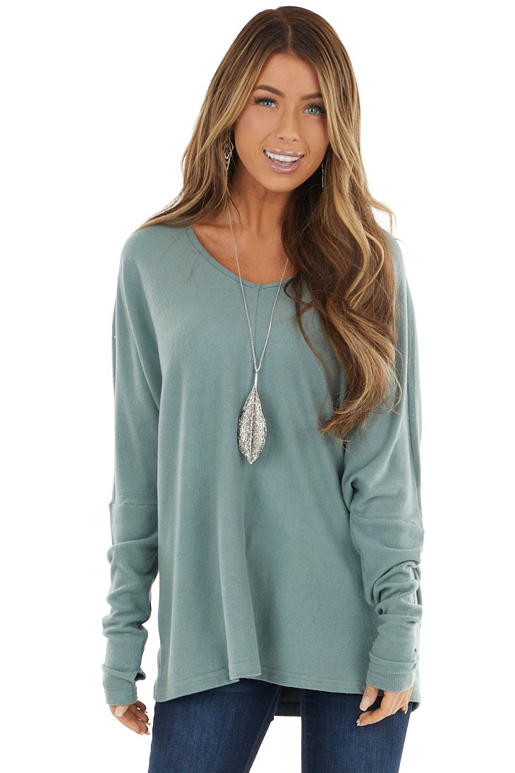 Sage Soft Ribbed Knit Top with Long Dolman Sleeves
