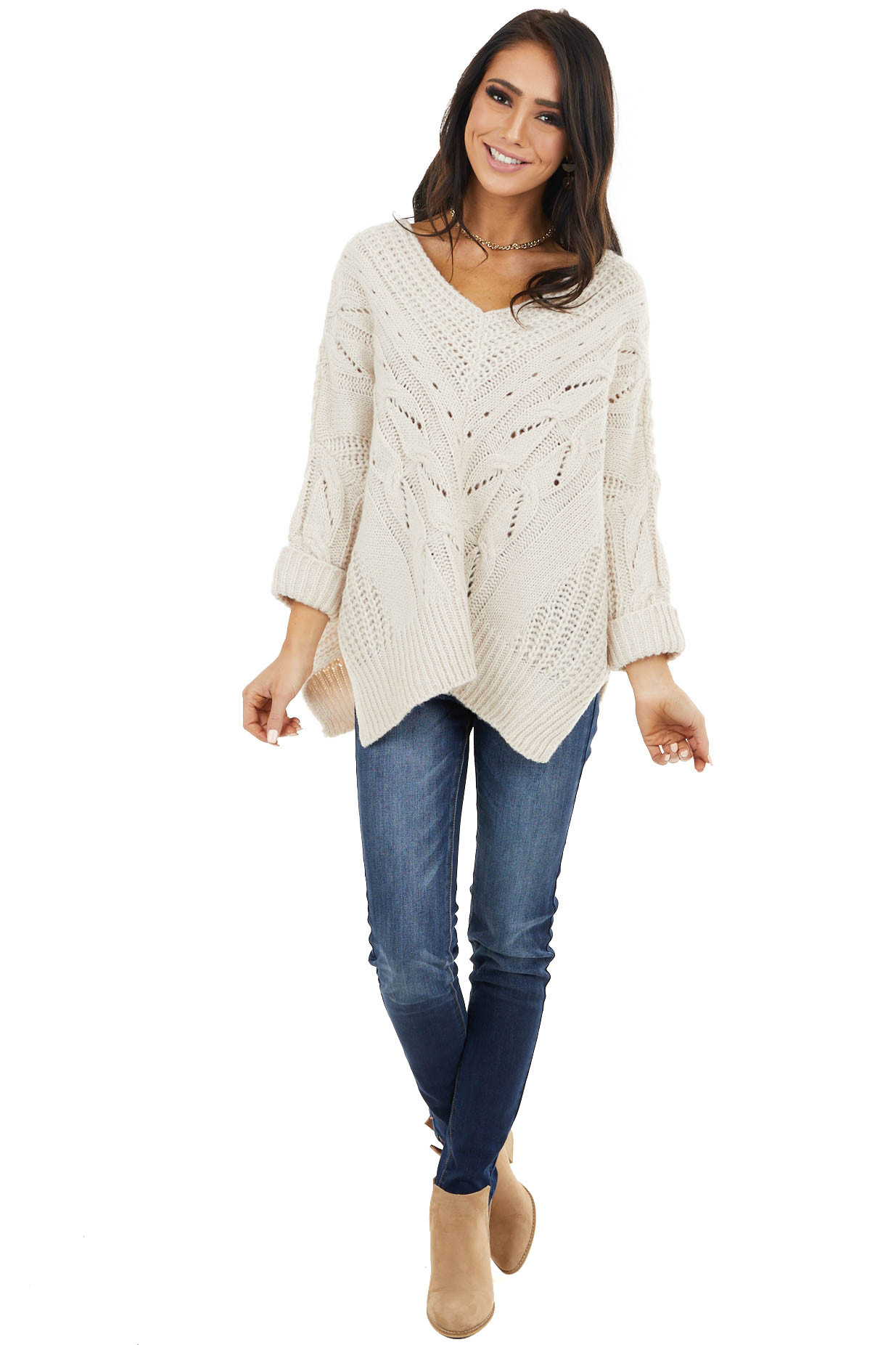 Cream Oversized Cable Knit Sweater with Side Slits