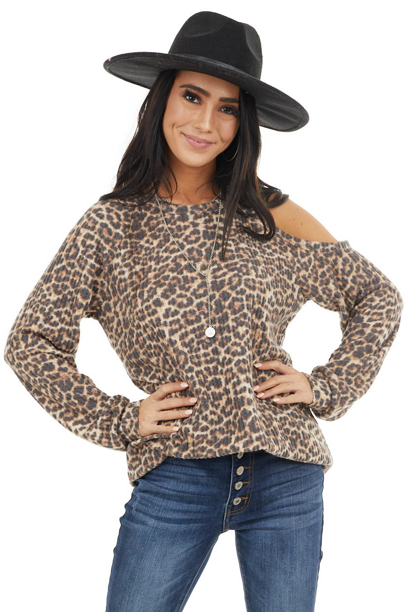 Beige Leopard Print Long Sleeve Top with One Cold Shoulder
