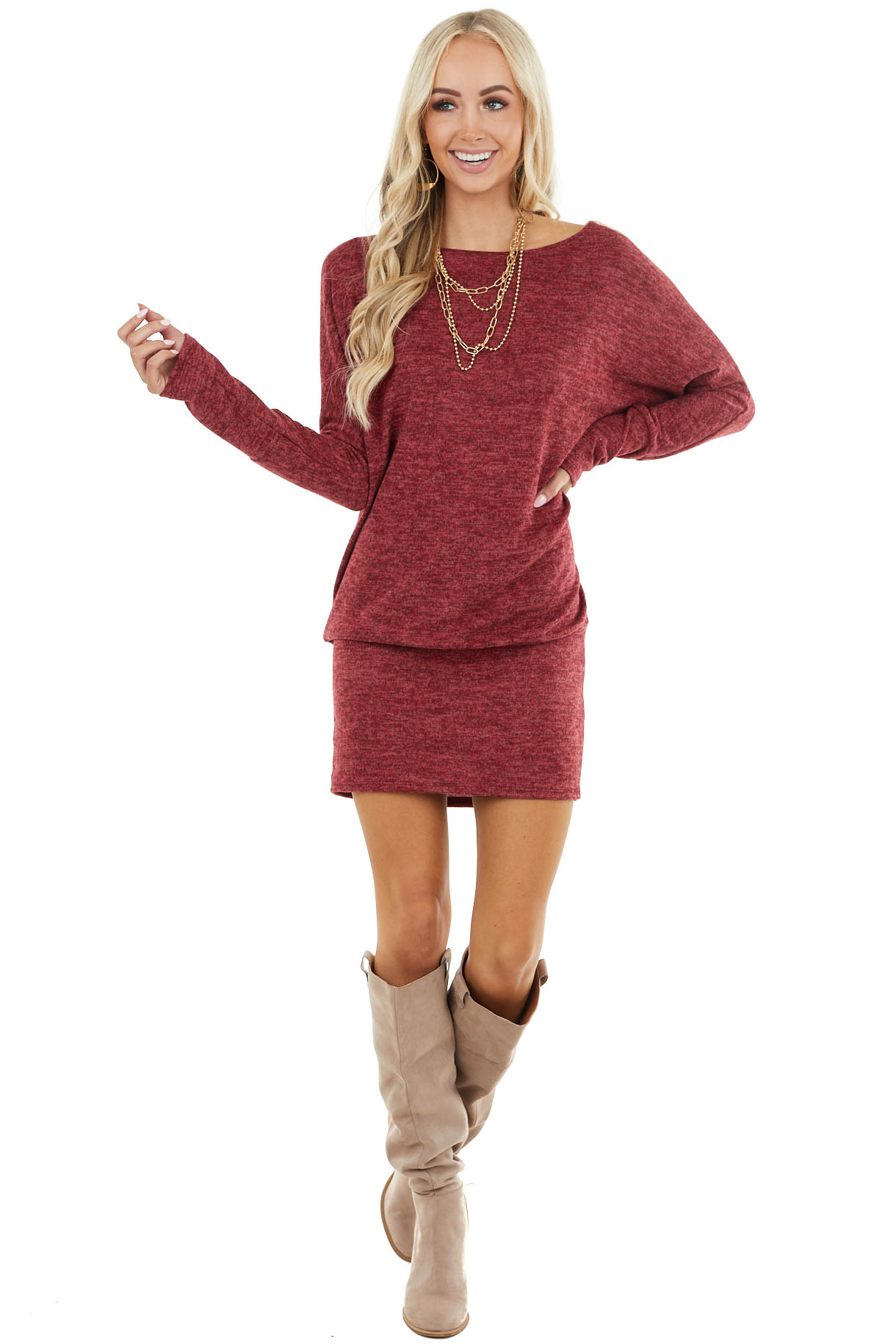 Maroon Long Sleeve Tunic Dress with Long Banded Hem