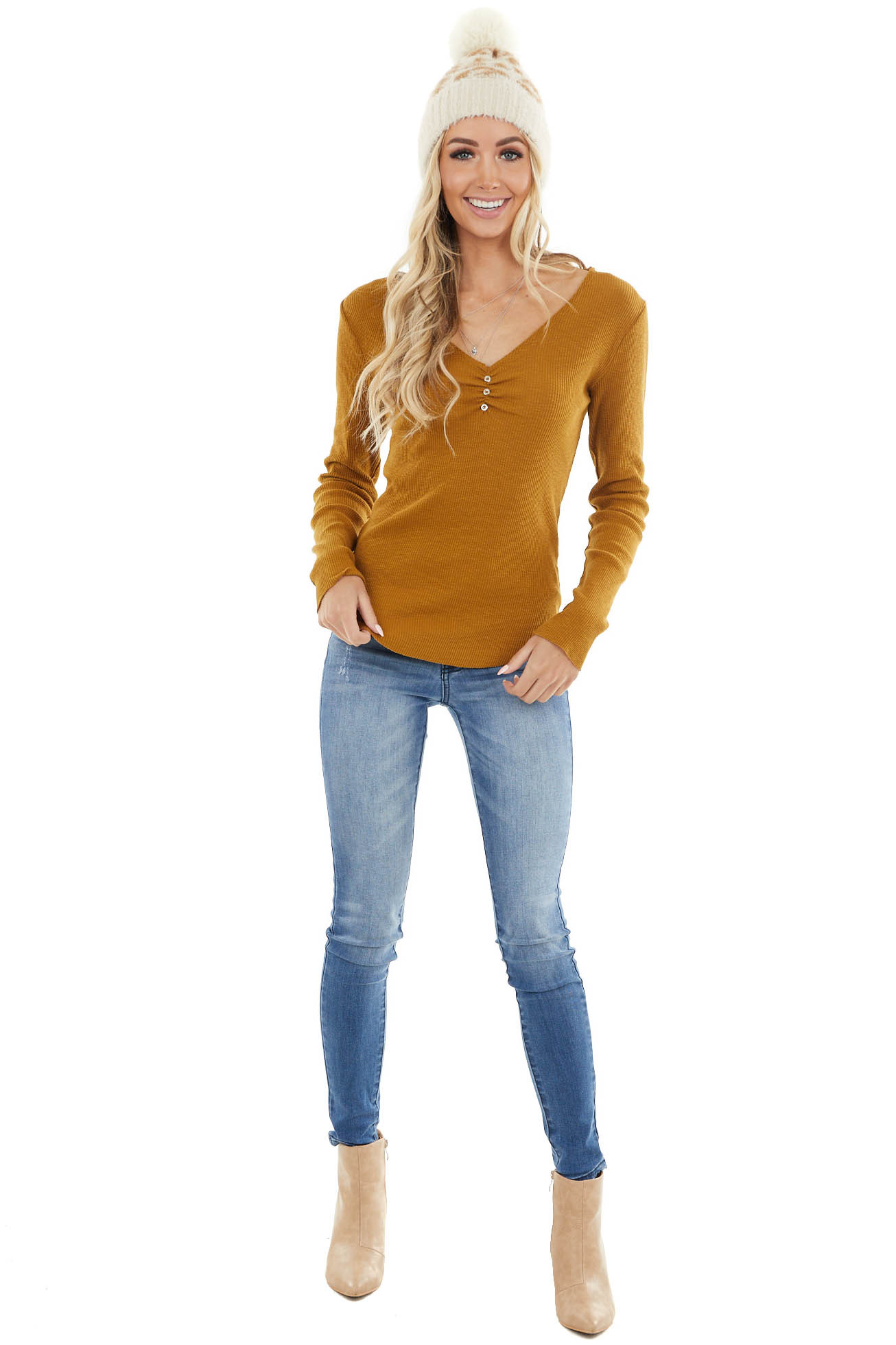 Dark Mustard Ribbed Long Sleeve Top with Raw Edge Detail
