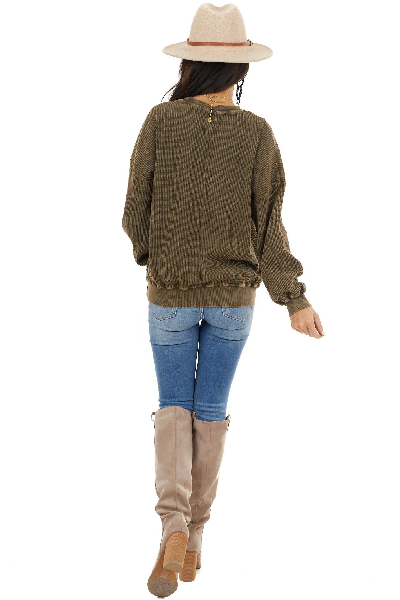 Vintage Olive Textured Pullover with Bubble Sleeves