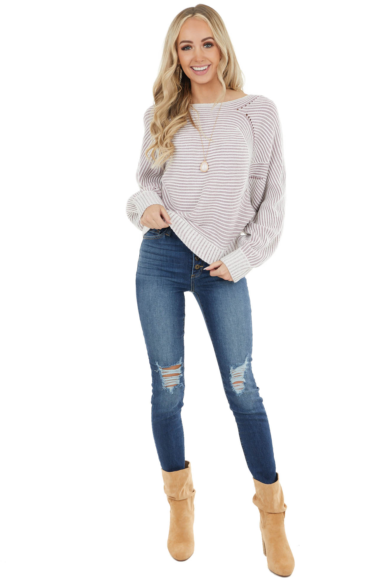 Mauve Striped Long Dolman Sleeve Textured Knit Sweater