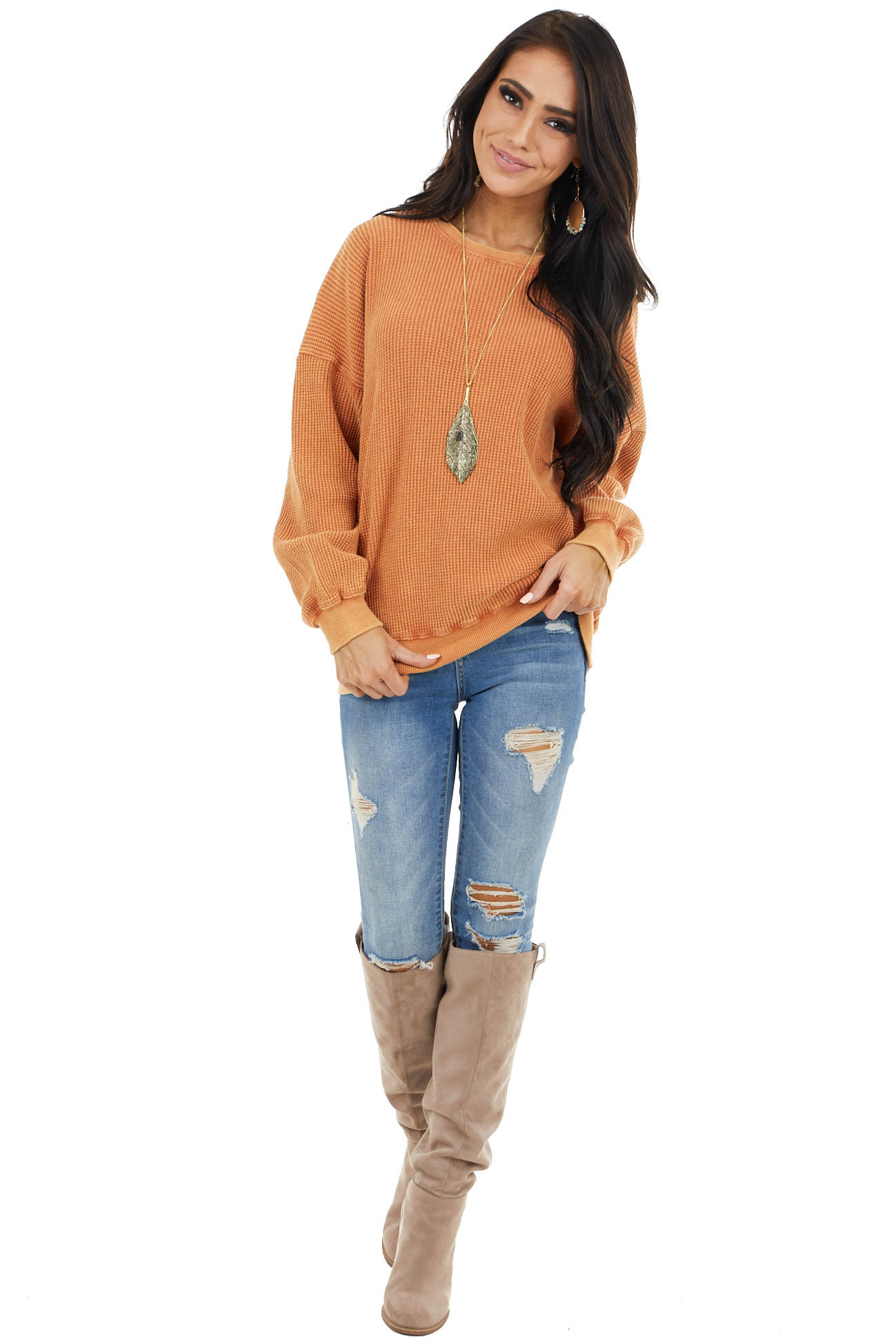 Vintage Pumpkin Textured Pullover with Bubble Sleeves