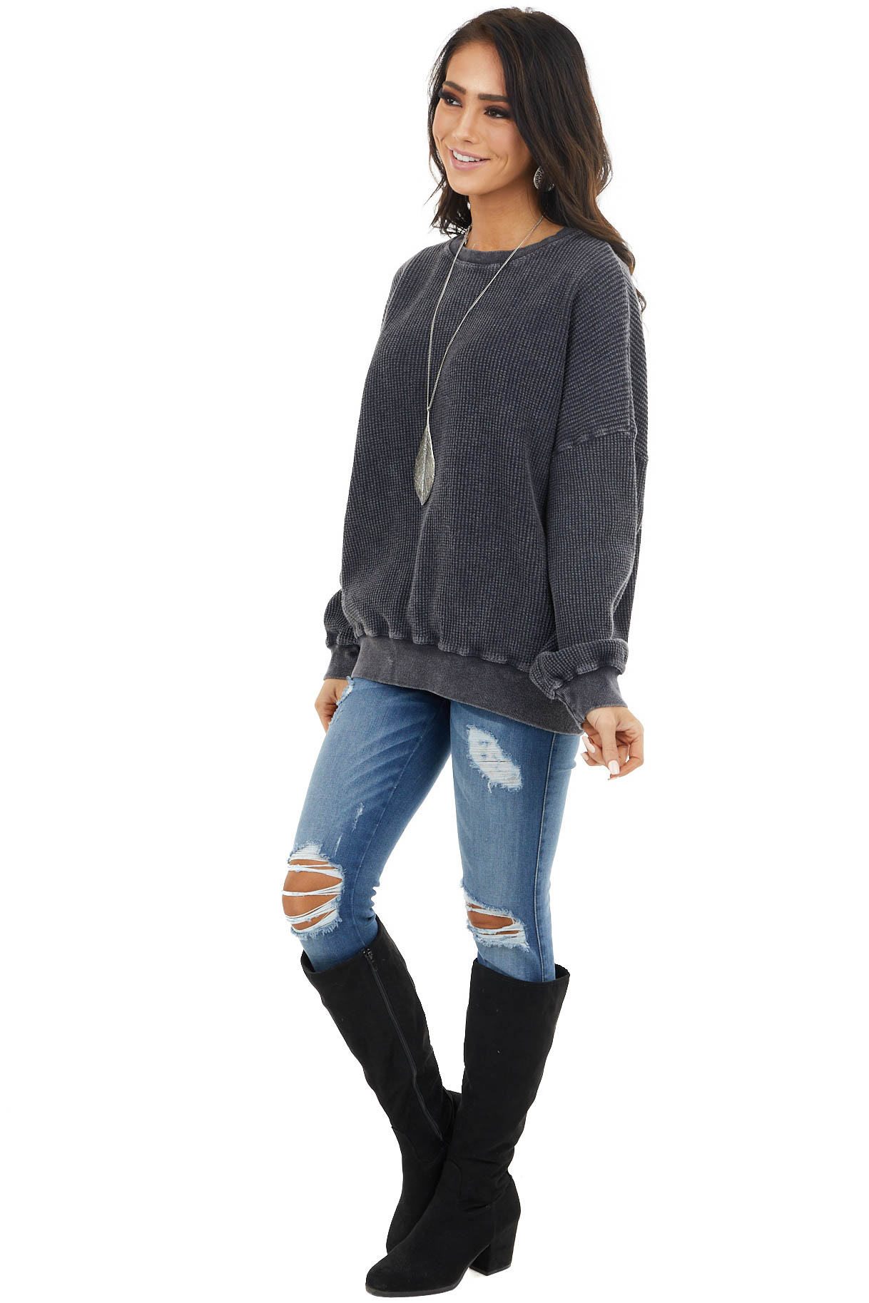 Vintage Charcoal Textured Pullover with Bubble Sleeves