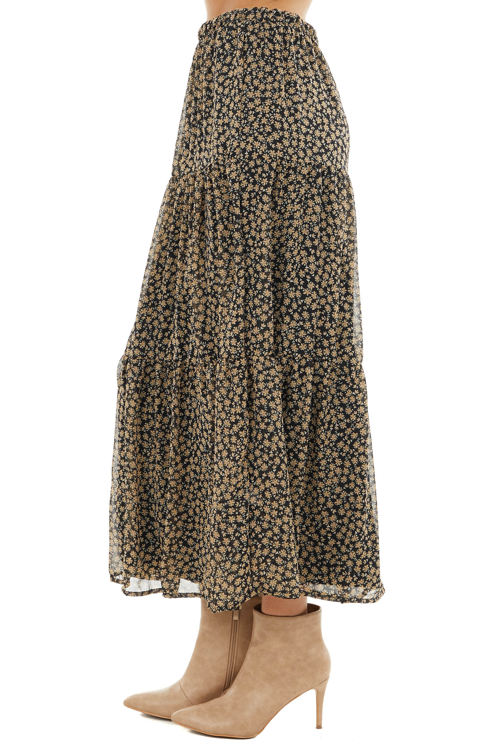 Black Floral Print Chiffon Tiered Maxi Skirt with Lining