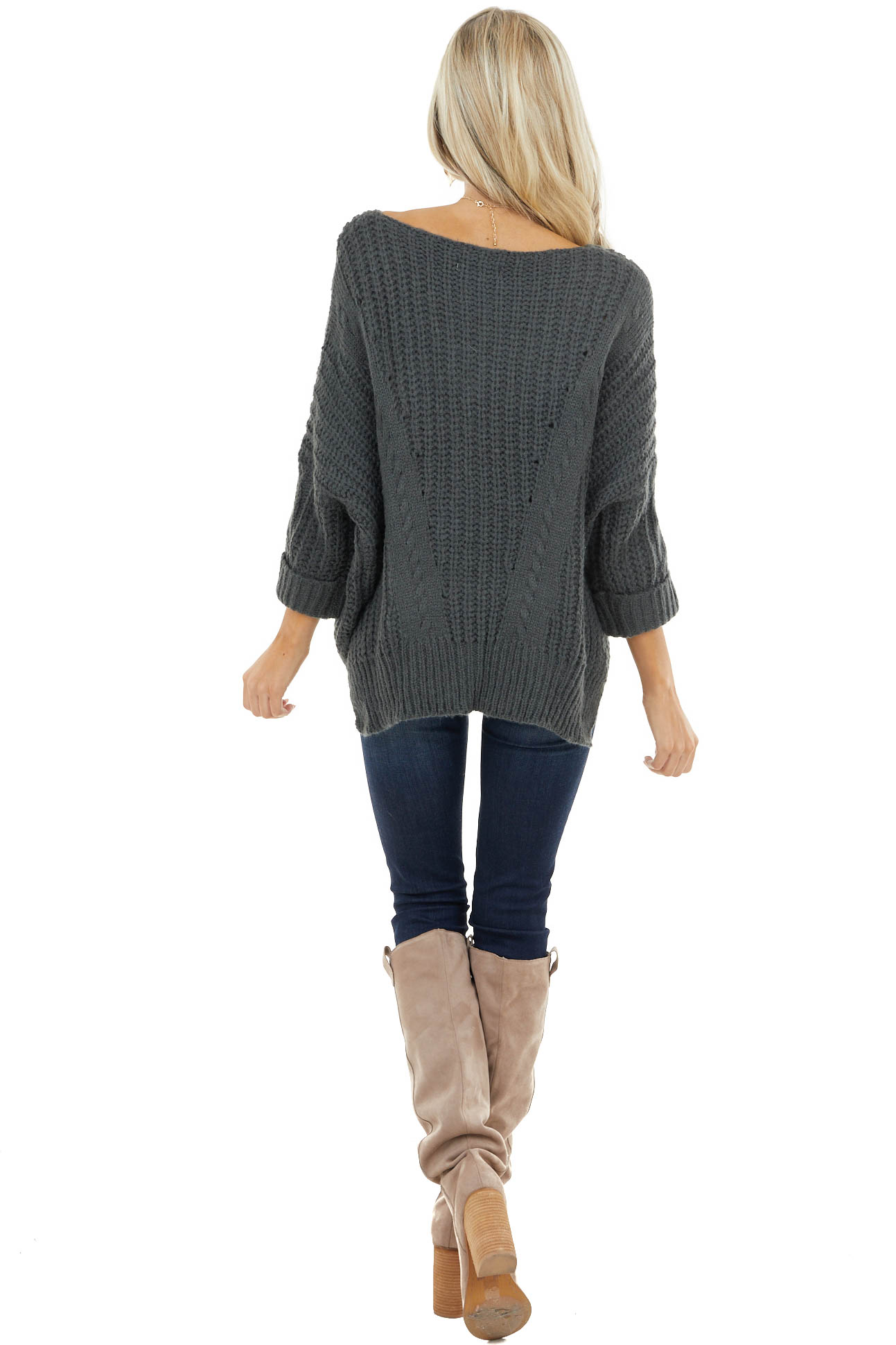 Hunter Green Oversized Cable Knit Sweater with Side Slits
