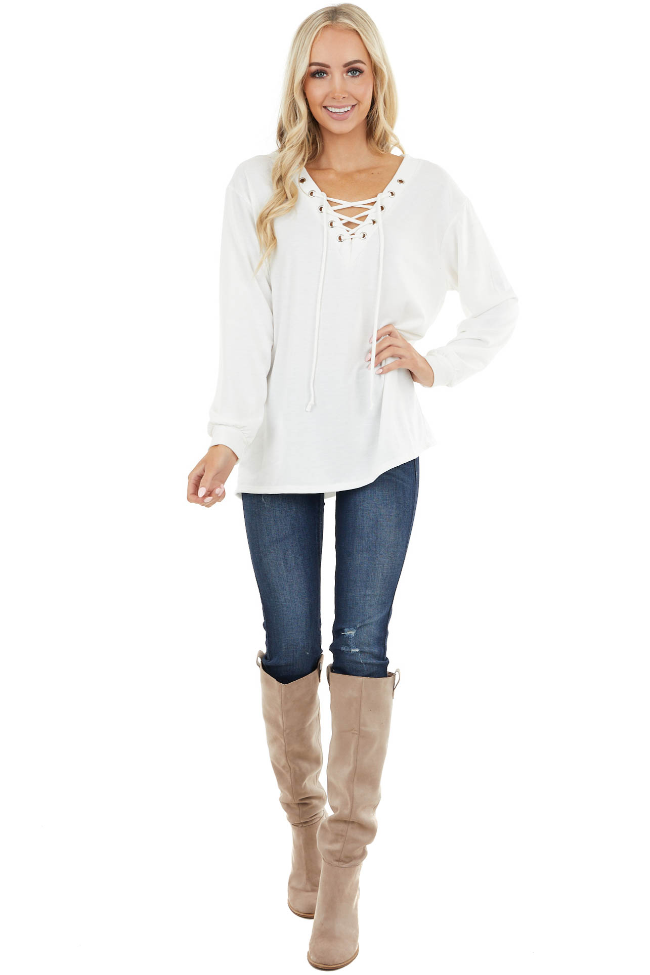Ivory Long Sleeve Knit Top with Lace Up V Neck Detail