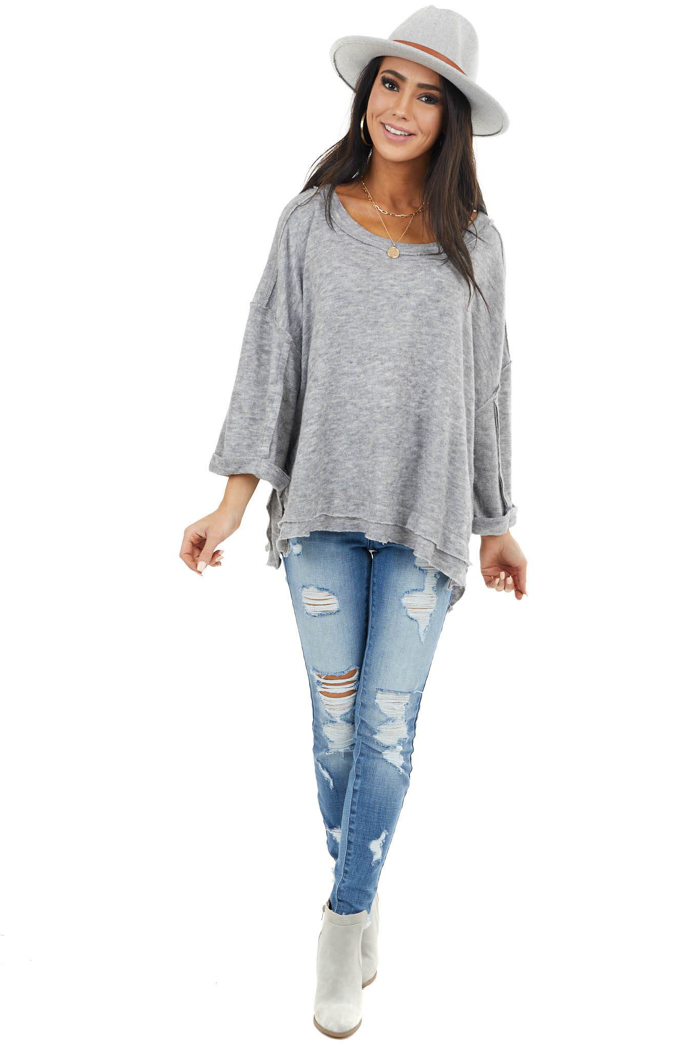 Heather Grey Loose Fit Bell Sleeve Top with Raw Edge Details
