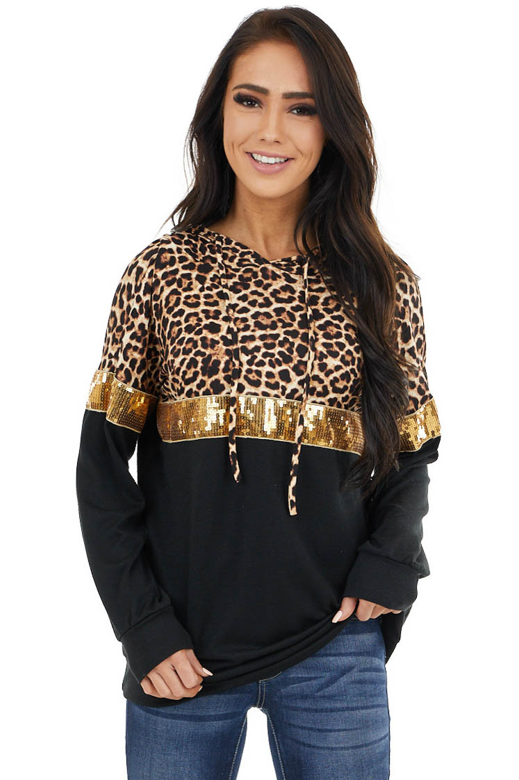 Black Leopard Print Top with Sequins and Hood Detail