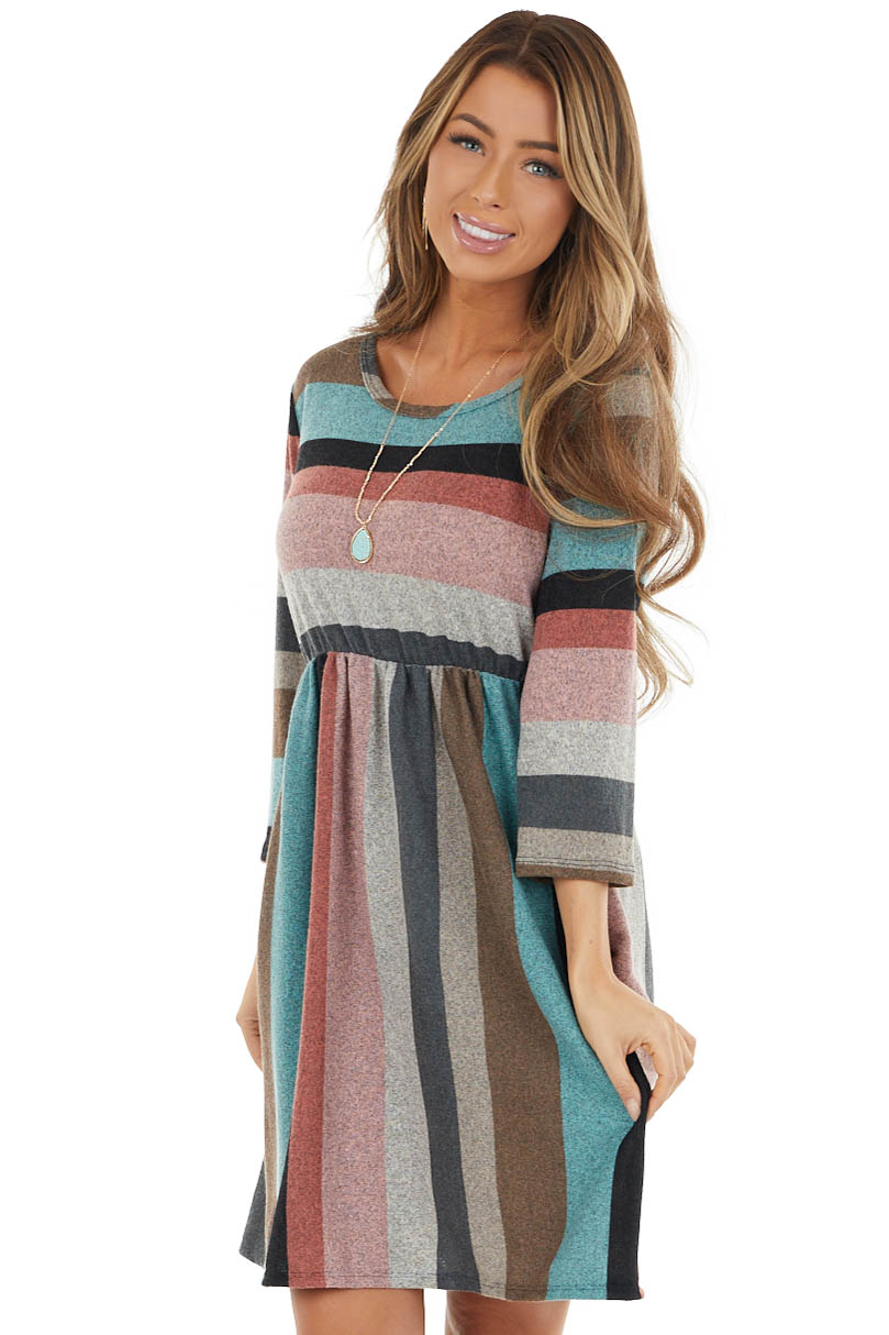 Teal and Dusty Blush Striped Drop Waist Short Dress