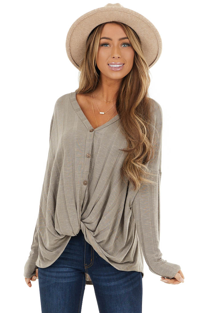 Taupe Button Up Long Sleeve Knit Top with Front Knot Detail