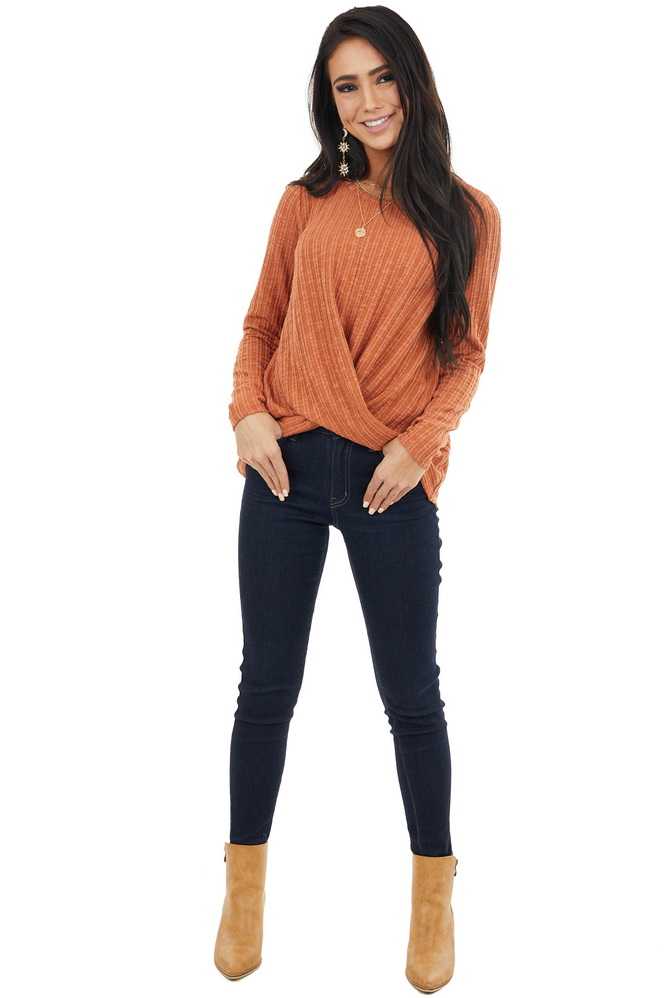 Rust Long Sleeve Ribbed Top with Twisted Hem Detail
