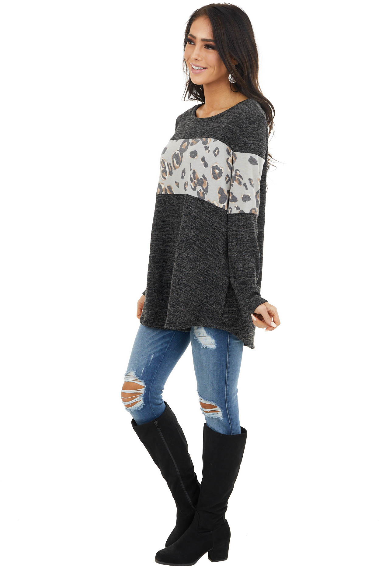 Charcoal and Oatmeal Leopard Long Sleeve Lightweight Top