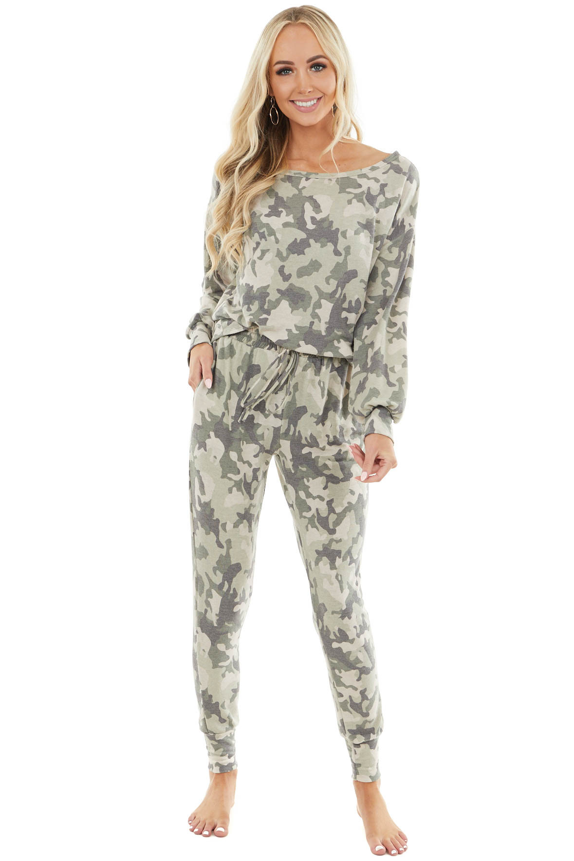 Light Olive and Oatmeal Camo Print Top and Jogger Set