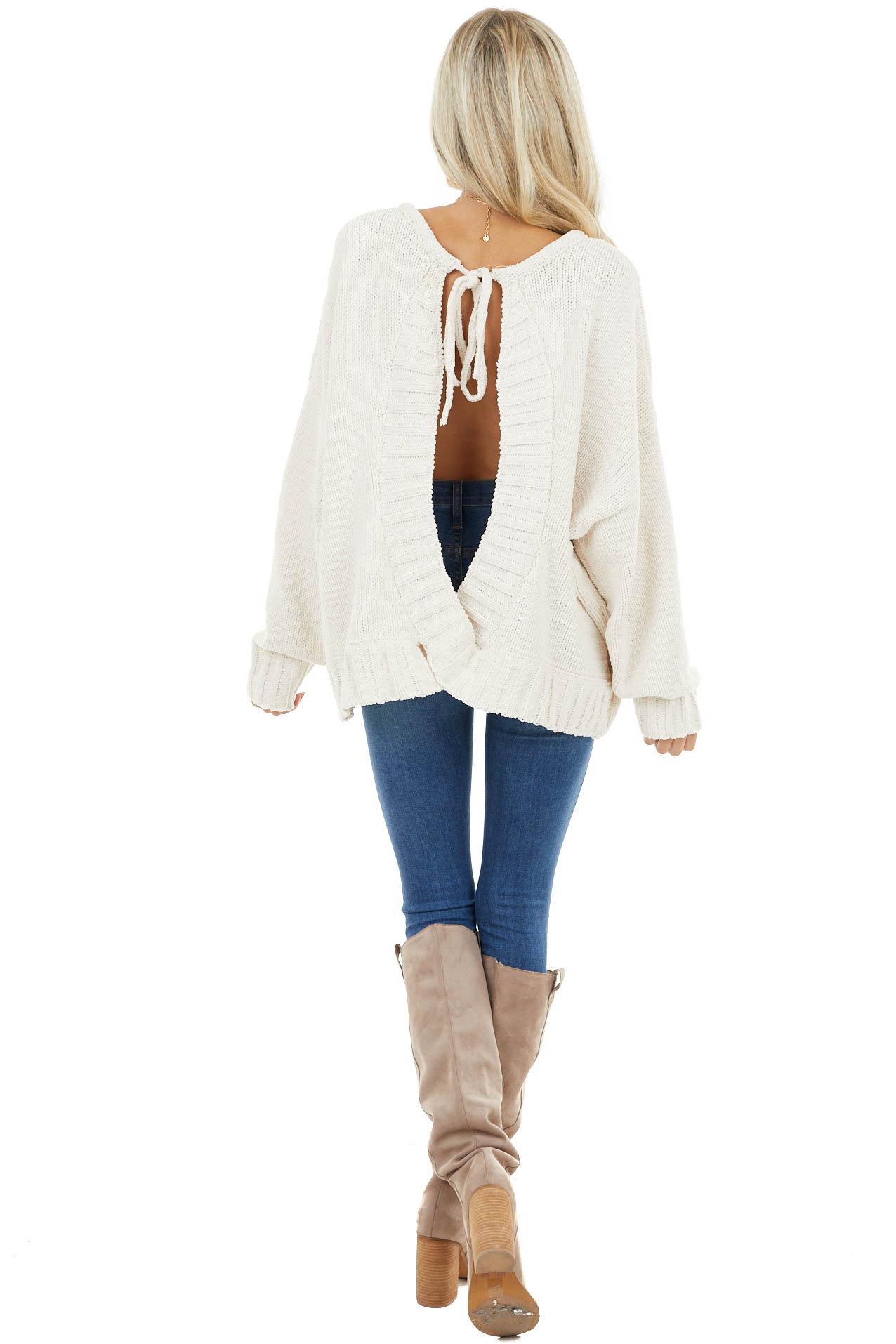 Cream Chenille Long Dolman Sleeve Top with Open Back Detail