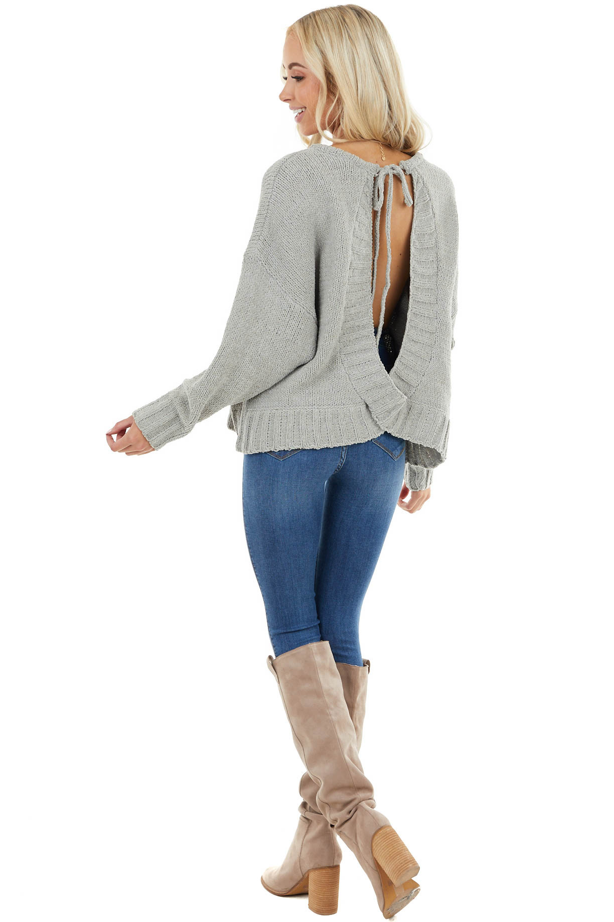 Sage Chenille Long Dolman Sleeve Top with Open Back Detail