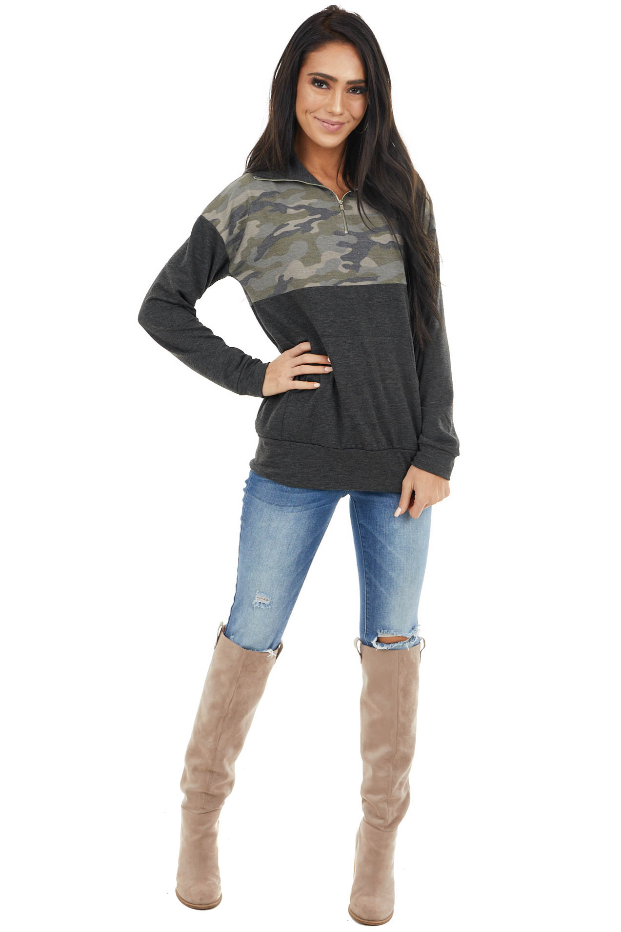 Charcoal and Camo Long Sleeve Pullover with Zipper Detail