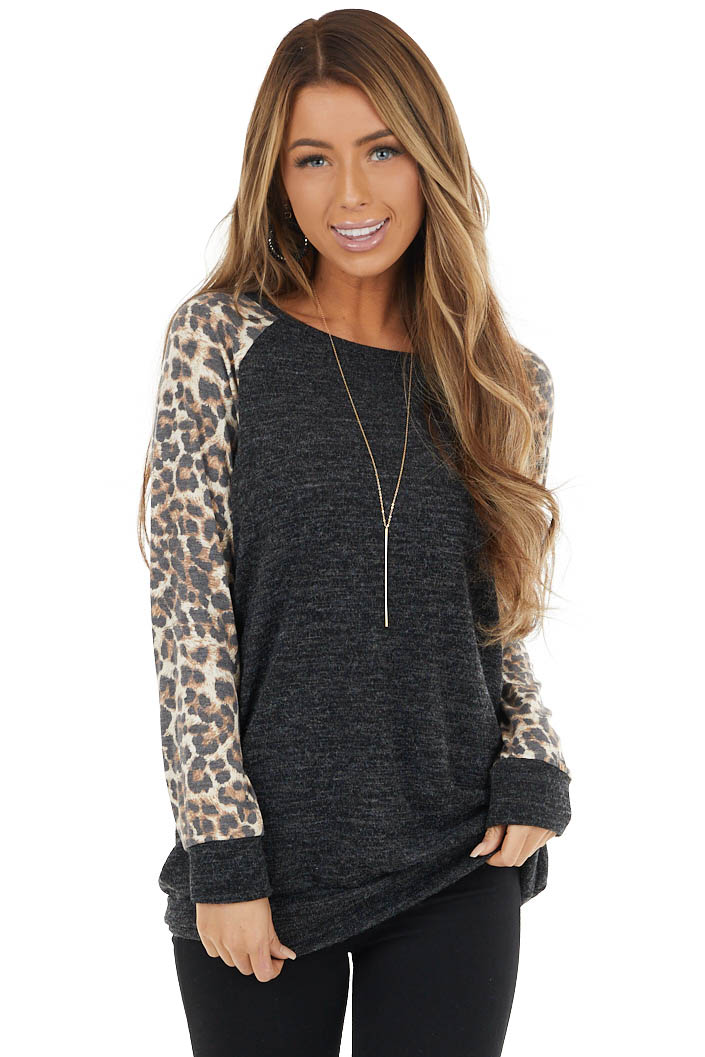 Charcoal Grey Long Sleeve Top with Leopard Contrast