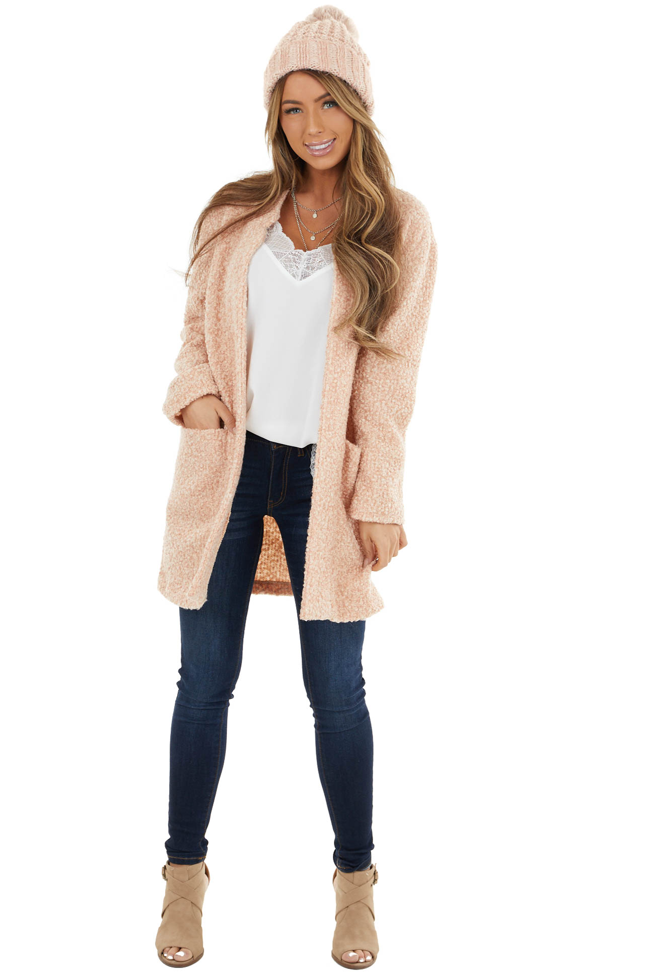 Dusty Blush Textured Knit Long Sleeve Jacket with Pockets