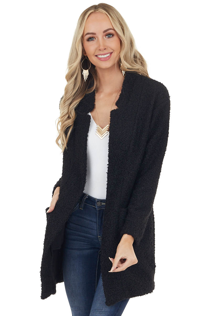 Black Textured Knit Long Sleeve Jacket with Pockets