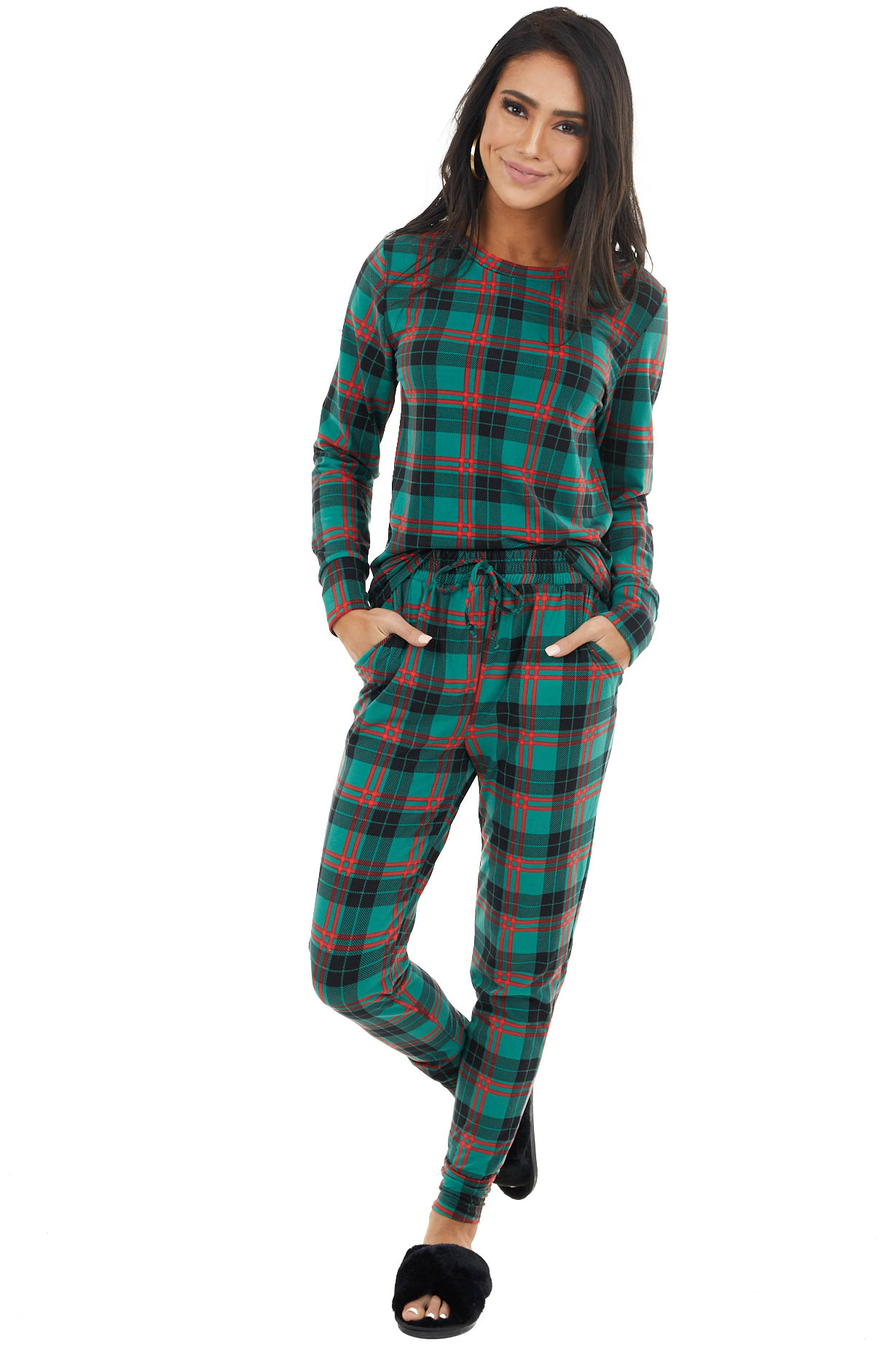 Forest Green and Crimson Plaid Pajama Top and Jogger Set