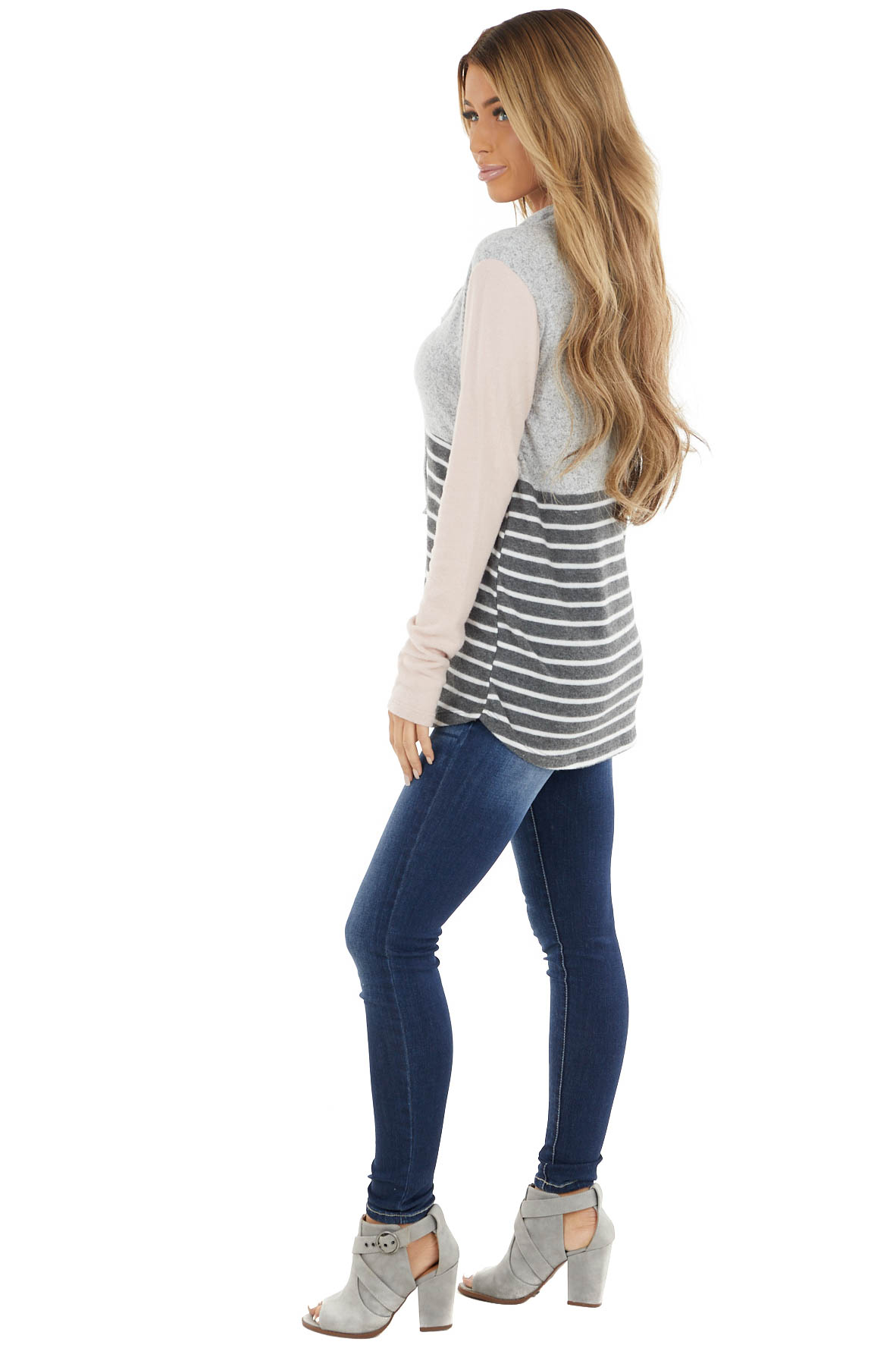 Heather Grey Cowl Neck Hoodie with Striped Contrast