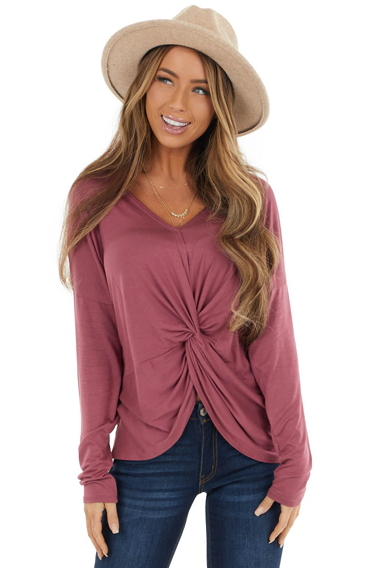 Dusty Marsala Long Sleeve Knit Top with Front Knot Detail