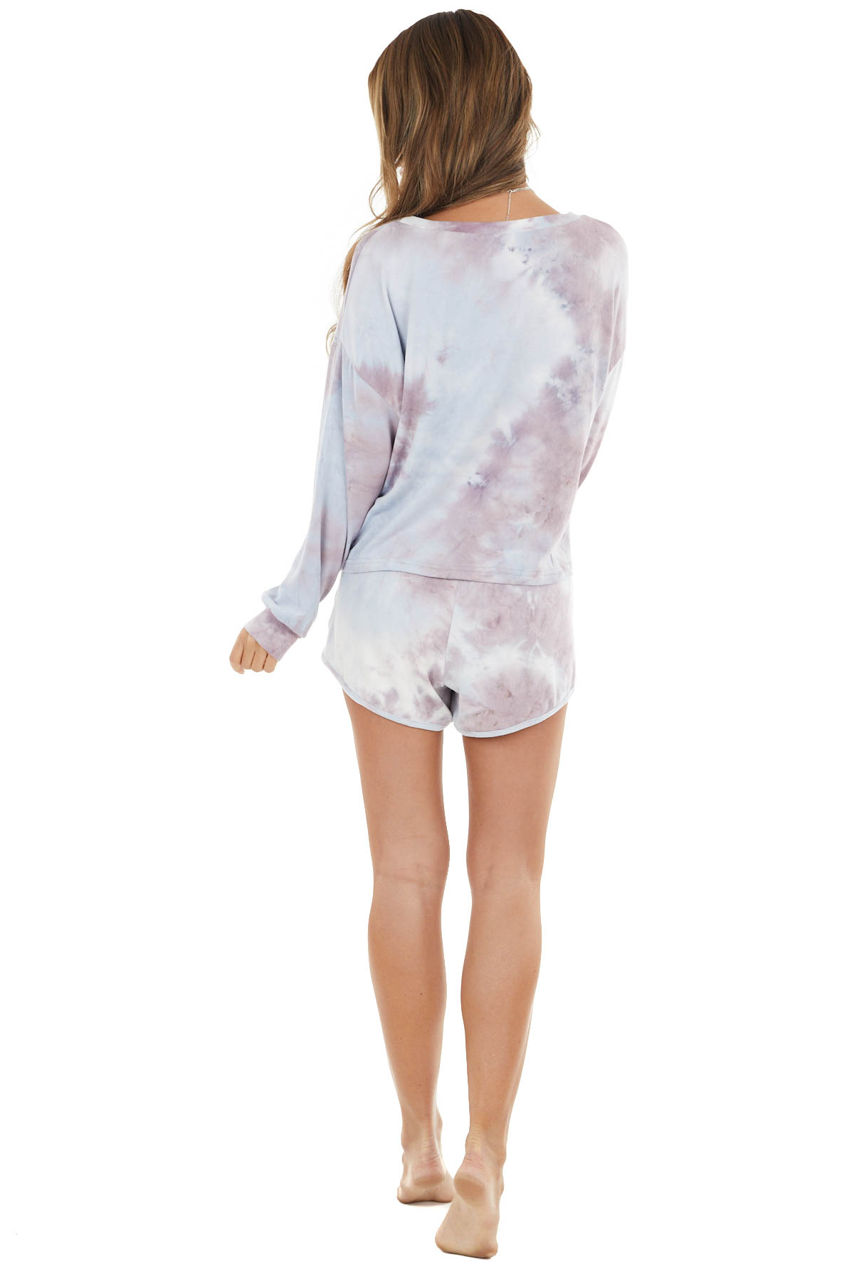 Lilac and Powder Blue Tie Dye Long Sleeve and Short Set